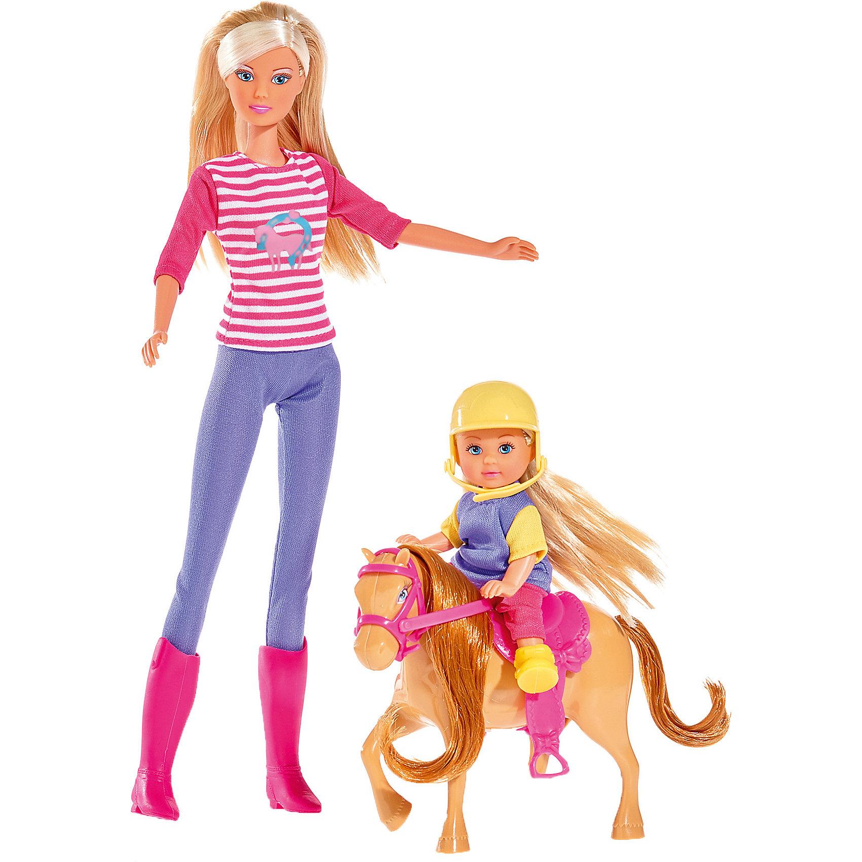Кукла Штеффи и Еви с пони на ферме, 29 см, SimbaХарактеристики товара:<br><br>- цвет: разноцветный;<br>- материал: пластик, текстиль;<br>- возраст: от трех лет;<br>- комплектация: 2 куклы, одежда, аксесуары;<br>- высота кукок: 29 и 12 см.<br><br>Эта симпатичная кукла Штеффи в компании Еви от известного бренда приводит детей в восторг! Какая девочка сможет отказаться поиграть с куклами, которые дополнены такими симпатичными нарядами и лошадкой?! В набор входят аксессуары для игр с куклами. Игрушка очень качественно выполнена, поэтому она станет замечательным подарком ребенку. <br>Продается набор в красивой удобной упаковке. Игры с куклами помогают девочкам развить важные навыки и отработать модели социального взаимодействия. Изделие произведено из высококачественного материала, безопасного для детей.<br><br>Куклу Штеффи и Еви с пони на ферме, 29 см, от бренда Simba можно купить в нашем интернет-магазине.<br><br>Ширина мм: 60<br>Глубина мм: 325<br>Высота мм: 180<br>Вес г: 360<br>Возраст от месяцев: 36<br>Возраст до месяцев: 120<br>Пол: Женский<br>Возраст: Детский<br>SKU: 5119530