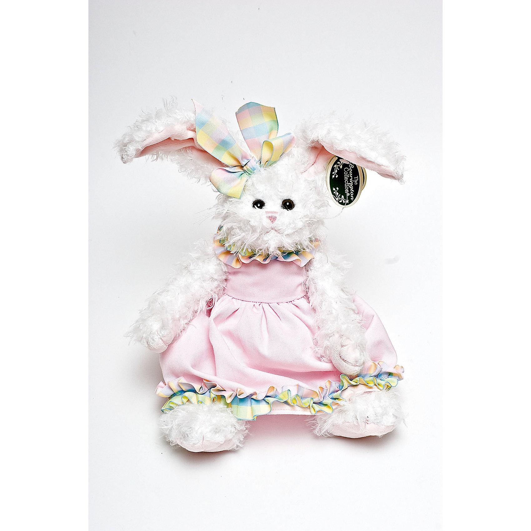 Зайка, 36 см, BearingtonЗайка, 36 см, Bearington (Берингтон).<br><br>Характеристики:<br><br>- Высота игрушки: 36 см.<br>- Материал: искусственный мех, текстиль, набивка - полиэфирное волокно<br><br>Симпатичная Зайка в розовом платье и с бантом на голове от американской компании Bearington (Берингтон) покорит Вас обаянием и красотой. Игрушка непременно вызовет положительные эмоции и подарит Вам свою любовь и тепло. Зайка изготовлена из нежного высококачественного искусственного меха. У нее очаровательная мордочка с длинными белыми усиками и красивые длинные ушки, внутри которых вшит проволочный каркас, так что ушки можно загибать и разгибать. Зайка выполнена в лучших традициях классических мишек Тедди - ее лапки крепятся таким образом, что их можно вращать по отношению к туловищу на 360 градусов, и придавать игрушке разнообразные позы. Чудесное платьице сшито из высококачественных экологически чистых материалов. Крой и отделка наряда созданы с любовью, что придает игрушке особый шарм. Платье можно снимать и одевать. Играть с зайкой от Беарингтон также интересно, как и с куклами. Благодаря чудесному образу и высококачественному исполнению зайка станет лучшим подарком для девочек и девушек с утонченным изысканным вкусом и для ценителей коллекционных игрушек.<br><br>Зайку, 36 см, Bearington (Берингтон) можно купить в нашем интернет-магазине.<br><br>Ширина мм: 100<br>Глубина мм: 80<br>Высота мм: 360<br>Вес г: 270<br>Возраст от месяцев: 36<br>Возраст до месяцев: 2147483647<br>Пол: Женский<br>Возраст: Детский<br>SKU: 5119971
