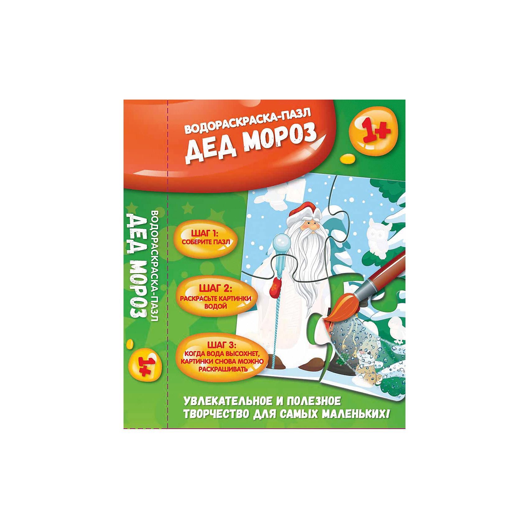 Дед Мороз: водораскраска-пазл