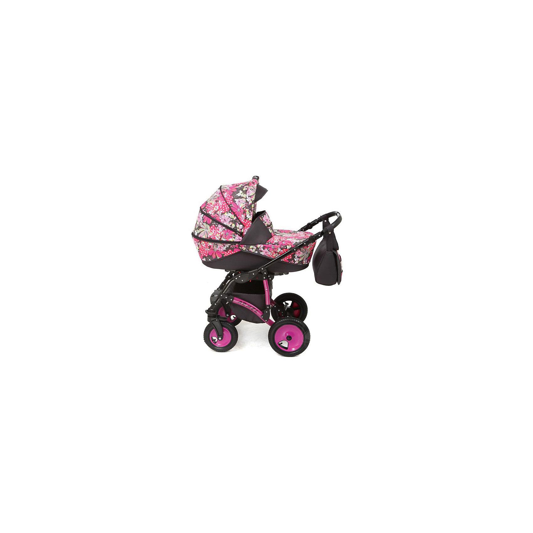 Marimex Коляска 2 в 1 ARMEL, Marimex, графит-розовый принт Цветы коляска marimex armel красный графит принт цветы