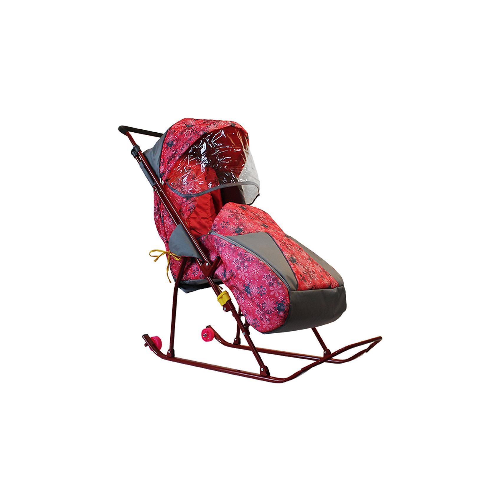 Санки-коляска Снежинка премиум, Galaxy, снежинки/розовый