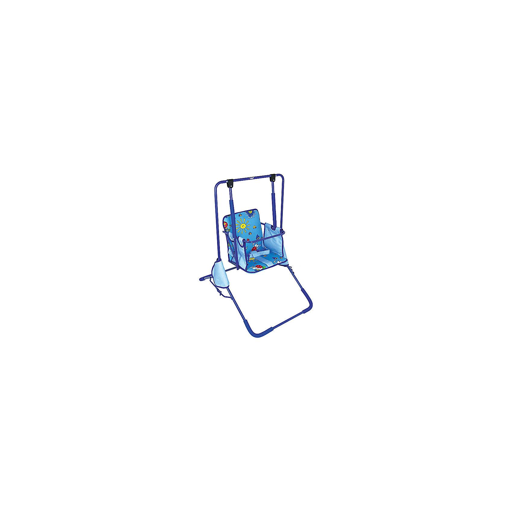 Качели напольные Малыш ФеяХарактеристики:<br><br>• Наименование: качели напольные<br>• Сезон: круглый год<br>• Пол: универсальный<br>• Материал: металл, текстиль, пластик<br>• Цвет: синий, голубой<br>• Наличие мягкого съемного сиденья<br>• Наличие ремней безопасности<br>• Устойчивый каркас с антискользящими накладками<br>• Механизм складывания: книжка<br>• Максимально допустимый вес: до 15 кг<br>• Размеры сидения (Ш*В): 33*42 см <br>• Высота каркаса: 1 м 22 см<br>• Вес: 6 кг<br><br>Качели напольные Малыш Фея предназначены для детей младшего дошкольного возраста. Изготовлены из устойчивой конструкции, предотвращающей опрокидывания и пошатываения во время качания, делают их безопасными даже для самых маленьких детей. Широкое сиденье выполнено в форме стульчика со съемным чехлом, что делает их удобными в уходе. Конструкция имеет складной механизм и легкий вес, что позволяет их использовать не только дома, но и брать с собой на дачу или на природу. <br><br>Качели напольные Малыш Фея можно купить в нашем интернет-магазине.<br><br>Ширина мм: 500<br>Глубина мм: 200<br>Высота мм: 100<br>Вес г: 2000<br>Возраст от месяцев: 36<br>Возраст до месяцев: 84<br>Пол: Унисекс<br>Возраст: Детский<br>SKU: 5120641