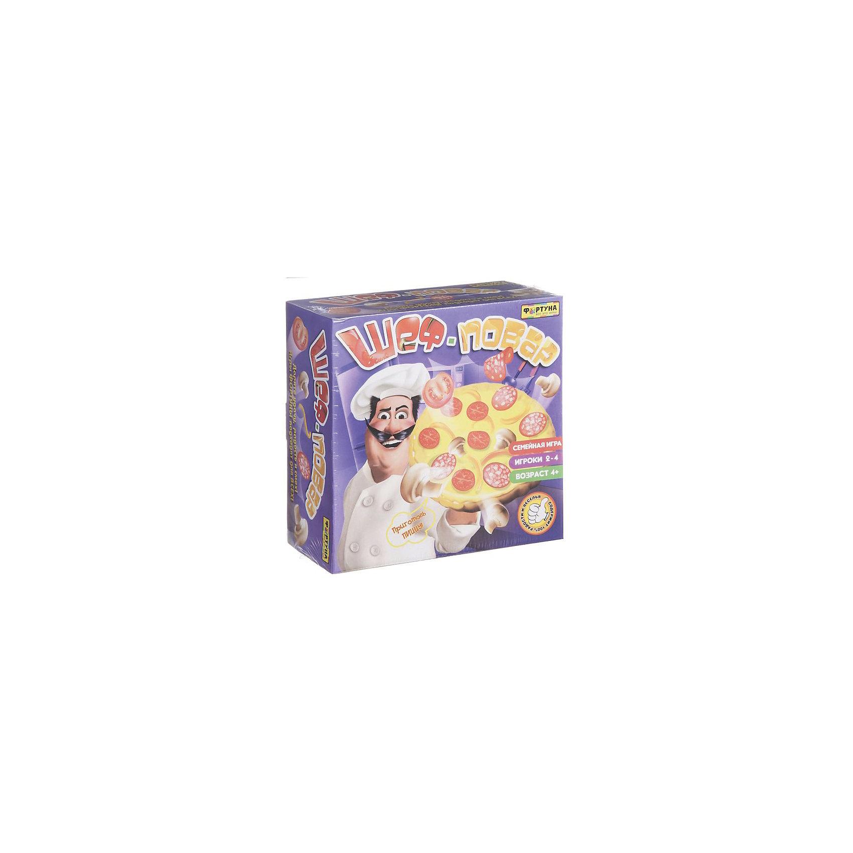 Настольная игра Шеф-повар, ФортунаНастольные игры<br>Характеристики:<br><br>• Вид игр: настольные игры<br>• Пол: универсальный<br>• Материал: пластик, бумага, картон<br>• Количество игроков: от 2-х до 4 человек<br>• Размер (Д*Ш*В): 26*6*24 см<br>• Вес: 450 г<br>• Комплектация: лепешка-пицца, ингридиенты для пиццы, игровой кубик, инструкция<br><br>Настольная игра Шеф-повар, Фортуна от отечественного производителя, специализирующегося на данного вида играх, предназначена для веселого времяпрепровождения от 2 до 4-х человек. Цель игры заключается в том, чтобы разместить на пицце выпавший игроку ингридиент при бросании кубика и при этом не перевернуть пиццу. Элементы игры выполнены из качественного и безопасного пластика, упакованы в картонную коробку. В комплекте имеется инструкция с правилами игры.<br><br>Настольные игры от Фортуны научат ребенка внимательности, усидчивости, позволят ему развивать, тактическое, стратегическое и логическое мышление. Игры с несколькими участниками позволяют в легкой форме осваивать социальные навыки взаимодействия и выстраивать коммуникацию с другими участниками игры. Настольная игра Шеф-повар, Фортуна может стать прекрасным вариантом в качестве подарка к празднику для любого ребенка! <br><br>Настольную игру Шеф-повар, Фортуна можно купить в нашем интернет-магазине.<br><br>Ширина мм: 270<br>Глубина мм: 110<br>Высота мм: 270<br>Вес г: 650<br>Возраст от месяцев: 48<br>Возраст до месяцев: 2147483647<br>Пол: Унисекс<br>Возраст: Детский<br>SKU: 5121946