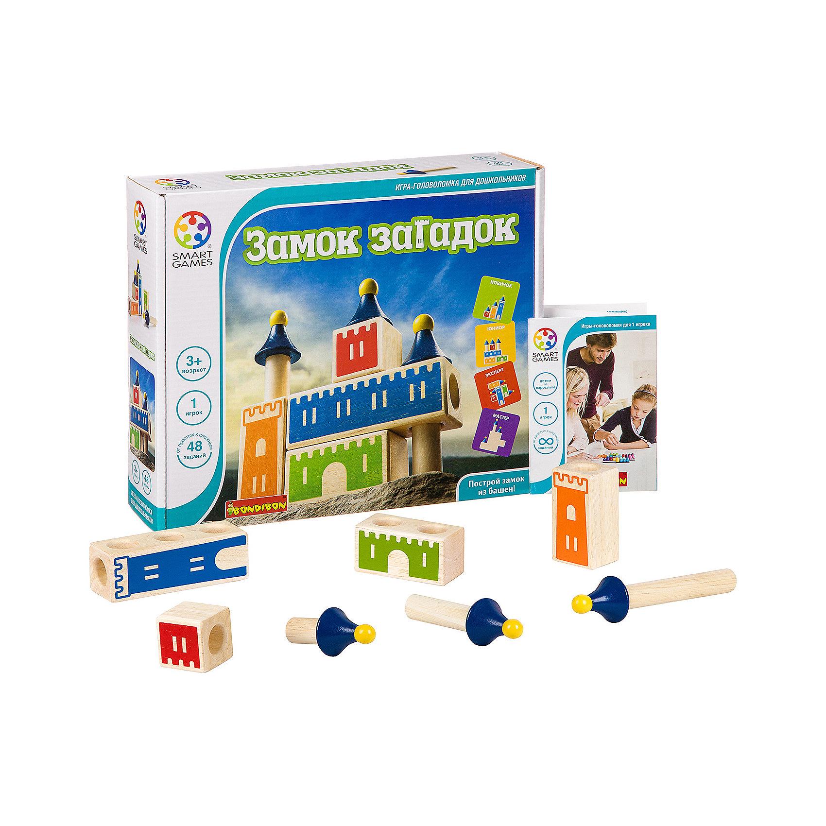 Логическая игра Замок загадок, BondibonНастольные игры<br>Характеристики:<br><br>• Вид игр: настольные игры<br>• Пол: универсальный<br>• Материал: дерево, бумага, картон<br>• Количество игроков: 1<br>• Количество уровней сложности: 4<br>• Количество заданий: 48<br>• Размер (Д*Ш*В): 24*7,5*24 см<br>• Вес: 750 г<br>• Комплектация: 4 деревянных блока, 3 деревянные башни, буклет с заданиями, инструкция<br><br>Логическая игра Замок загадок, Bondibon – это настольная игра от всемирно известного производителя детских игр развивающей и обучающей направленности. Smart Games – это серия логических игр, предназначенная для одного игрока с несколькими уровнями сложности и множеством заданий. Цель игры Замок загадок заключается в том, чтобы построить замок из имеющихся деталей в соответсвии с заанием. Элементы игры выполнены из качественно обработанного дерева, упакованы в картонную коробку. В комплекте имеется инструкция с правилами игры, буклет с заданиями и книжка с красочными иллюстрациями.<br><br>Логические игры Smart Games от Bondibon научат ребенка логическому и пространственному мышлению, концентрации внимания и выработке индивидуальной тактики решения игровых задач. Настольные игры от Bondibon – залог развития успешности вашего ребенка в будущем! <br><br>Логическую игру Замок загадок, Bondibon можно купить в нашем интернет-магазине.<br><br>Ширина мм: 240<br>Глубина мм: 50<br>Высота мм: 240<br>Вес г: 783<br>Возраст от месяцев: 36<br>Возраст до месяцев: 96<br>Пол: Унисекс<br>Возраст: Детский<br>SKU: 5121969
