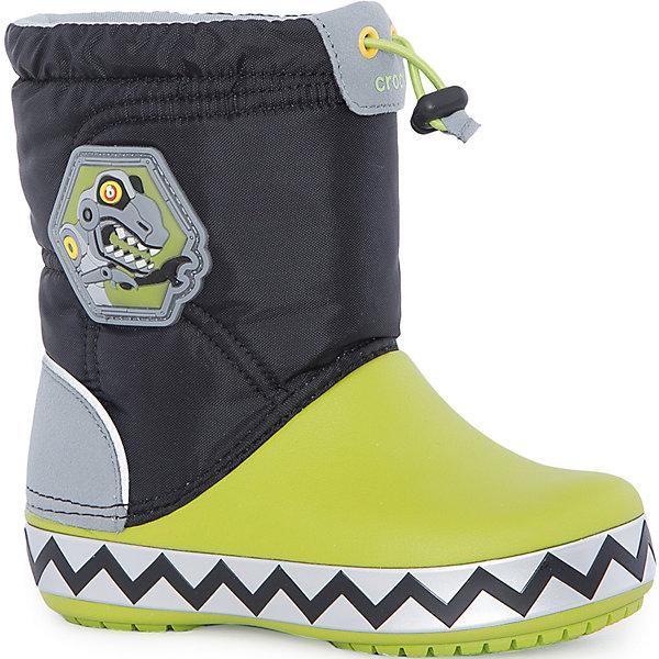 Сапоги Kids' CrocsLights LodgePoint RoboSaur Boot для мальчика CROCSСноубутсы<br>Характеристики товара:<br><br>• цвет: черный/зеленый<br>• материал: верх - текстиль, низ -100% полимер Croslite™<br>• материал подкладки: текстиль<br>• встроенные светодиоды<br>• запас энергии элементов питания примерно 350 тыс. шагов<br>• непромокаемая носочная часть<br>• температурный режим: от -15° до +10° С<br>• легко очищаются<br>• антискользящая подошва<br>• застежка: шнурок со стоппером<br>• толстая устойчивая подошва<br>• страна бренда: США<br>• страна изготовитель: Китай<br><br>Сапоги могут быть и стильными, и теплыми! Для детской обуви крайне важно, чтобы она была удобной. Такие сапоги обеспечивают детям необходимый комфорт, а теплая подкладка создает особый микроклимат. Сапоги легко надеваются и снимаются, отлично сидят на ноге. Материал, из которого они сделаны, не дает размножаться бактериям, поэтому такая обувь препятствует образованию неприятного запаха и появлению болезней стоп. Данная модель особенно понравится детям - ведь в подошве встроены мигающие светодиоды!<br>Обувь от американского бренда Crocs в данный момент завоевала широкую популярность во всем мире, и это не удивительно - ведь она невероятно удобна. Её носят врачи, спортсмены, звёзды шоу-бизнеса, люди, которым много времени приходится бывать на ногах - они понимают, как важна комфортная обувь. Продукция Crocs - это качественные товары, созданные с применением новейших технологий. Обувь отличается стильным дизайном и продуманной конструкцией. Изделие производится из качественных и проверенных материалов, которые безопасны для детей.<br><br>Сапоги для мальчика от торговой марки Crocs можно купить в нашем интернет-магазине.<br><br>Ширина мм: 257<br>Глубина мм: 180<br>Высота мм: 130<br>Вес г: 420<br>Цвет: черный<br>Возраст от месяцев: 24<br>Возраст до месяцев: 24<br>Пол: Мужской<br>Возраст: Детский<br>Размер: 25,27,34/35,33/34,31/32,26,24,23,30,29,28<br>SKU: 5121987