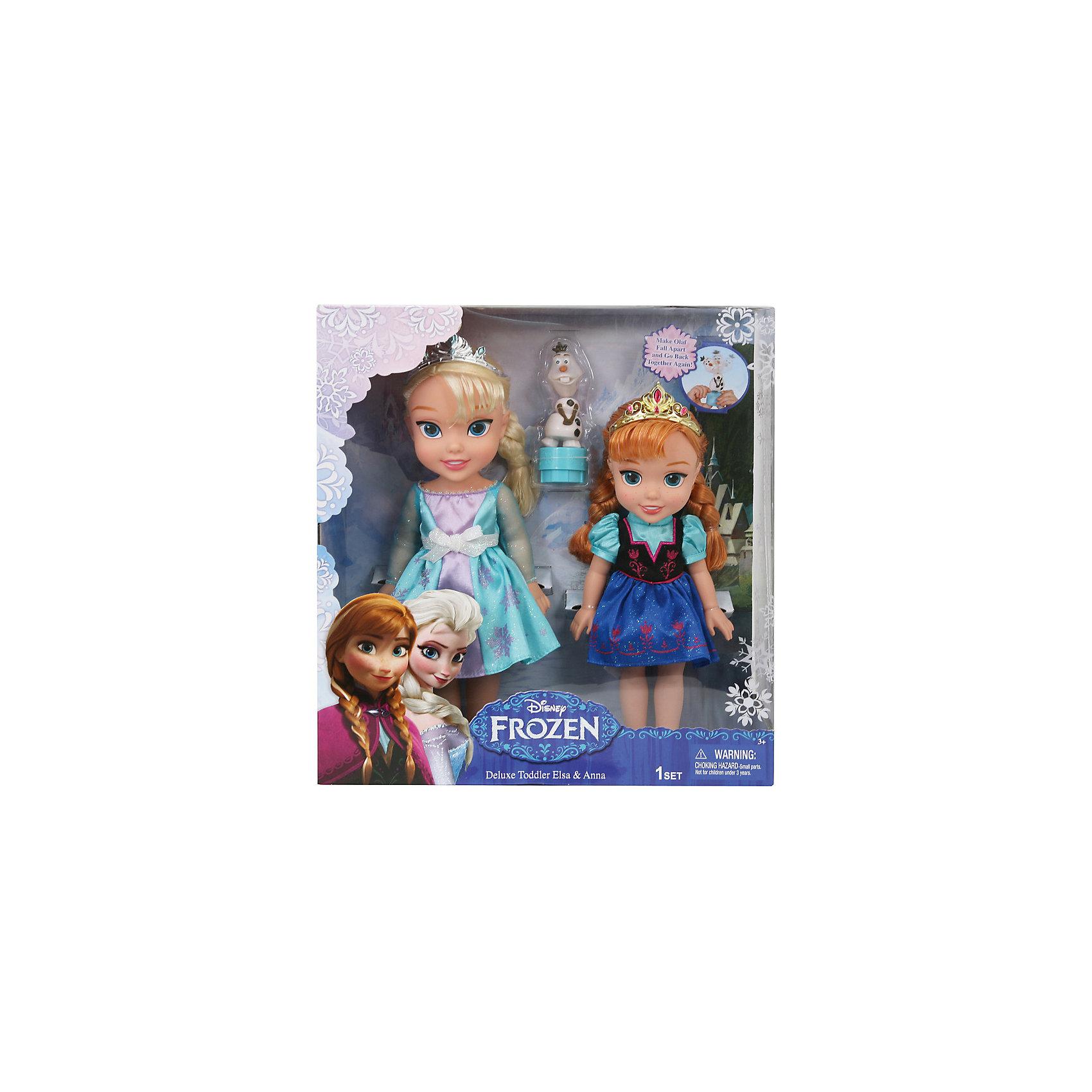 Игровой набор 2 куклы и Олаф, Холодное СердцеПопулярные игрушки<br>Характеристики товара:<br><br>- цвет: разноцветный;<br>- материал: текстиль, пластик;<br>- размер кукол: 30, 35 см;<br>- вес: 1400 г.<br><br>Играть с фигурками из любимого мультфильма - вдвойне интереснее! Фигурки героев мультика Холодное Сердце очень красивые, они хорошо детализированы. Каждая фигурка отлично выполнена, похожа на героя мультика, поэтому игровой набор с ними станет желанным подарком для ребенка. В комплекте - принцессы Эльза и Анна с подвижными конечностями и волосами, которые можно расчесывать. Также в наборе - фигурка Олафа, который забавно качает головой. Такой набор отлично тренирует у ребенка разные навыки: играя с фигурками, ребенок развивает мелкую моторику, цветовосприятие, внимание, воображение и творческое мышление. <br>Изделие произведено из качественных проверенных материалов, безопасных для малышей.<br><br>Игровой набор 2 куклы и Олаф, Холодное Сердце, можно купить в нашем интернет-магазине.<br><br>Ширина мм: 355<br>Глубина мм: 385<br>Высота мм: 130<br>Вес г: 1333<br>Возраст от месяцев: 36<br>Возраст до месяцев: 2147483647<br>Пол: Женский<br>Возраст: Детский<br>SKU: 5124483