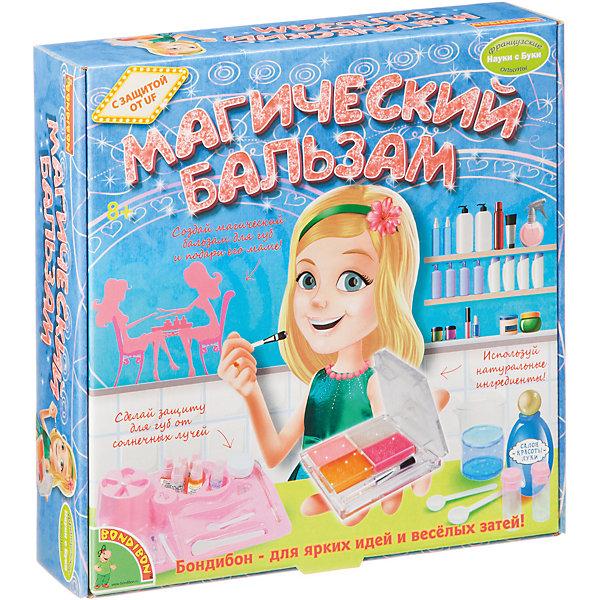 Магический бальзам, BondibonНаборы детской косметики<br>Магический бальзам, Bondibon (Бондибон).<br><br>Характеристики:<br><br>• Материал : пластик ;<br>• В комплекте: инструкция, набор красителей, набор ароматизаторов, набор добавок, детское масло, набор УФ шариков, флакончик с соевым эфиром, большая ложка, набор мерных стаканчиков, маленькая ложка, лопаточка, ягодный воск, формочка, кисточка для нанесения на губы, диск для образцов бальзама.<br><br>С таким набором для опытов ваша девочка научится пользоваться косметикой, а также попробует сама ее создать. Изучая и играя с этим набором, девочки получат советы профессионалов о том, как нужно правильно ухаживать за губами, как создать базовый бальзам и блеск для губ, экспериментальным путём поймут, как работает наш бальзам и каков его принцип действия на кожу, познакомятся со многими интересными научными фактами. Полученные косметические средства займут достойное место в косметичке вашей принцессы. Подарите своей девочке Магический бальзам!<br><br>Магический бальзам Bondibon (Бондибон), можно купить в нашем интернет – магазине.<br>Ширина мм: 224; Глубина мм: 60; Высота мм: 165; Вес г: 533; Возраст от месяцев: 96; Возраст до месяцев: 144; Пол: Женский; Возраст: Детский; SKU: 5124506;