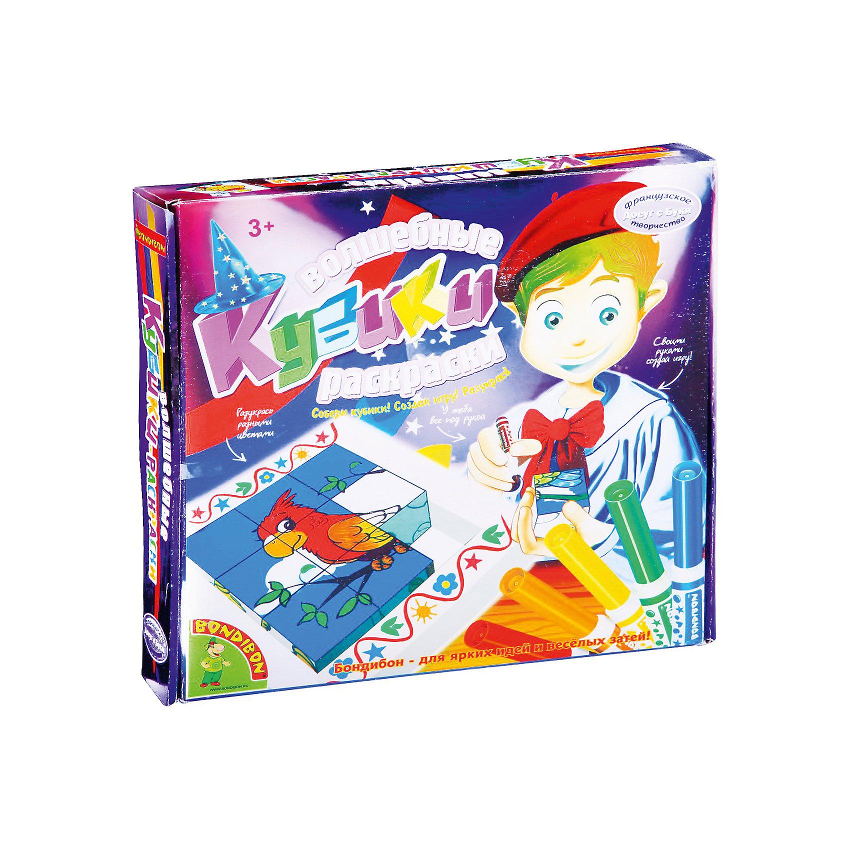Волшебные Кубики-раскраски, BondibonКубики<br>Волшебные кубики-раскраски, Bondibon (Бондибон). <br><br>Характеристика:<br><br>• Материал: бумага, картон.<br>• Размер упаковки: 27х4х26 см. <br>• Высота кубика: 6 см.<br>• Комплектация: 9 кубиков, рамка, 6 фломастеров (розового, красного, оранжевого, желтого, зеленого и синего цвета).<br>• Набор развивает моторику рук, фантазию и внимание. <br><br>Дети обожают играть с кубиками! А если кубики сделаны своими руками, с ними приятнее играть вдвойне! Этим замечательным набором ваш ребенок сможет сам раскрасить яркие кубики с забавными картинками и придумывать с ними веселые игры. <br><br>Волшебные кубики-раскраски, Bondibon (Бондибон), можно купить в нашем интернет-магазине.<br><br>Ширина мм: 270<br>Глубина мм: 40<br>Высота мм: 260<br>Вес г: 408<br>Возраст от месяцев: 36<br>Возраст до месяцев: 72<br>Пол: Унисекс<br>Возраст: Детский<br>SKU: 5124513