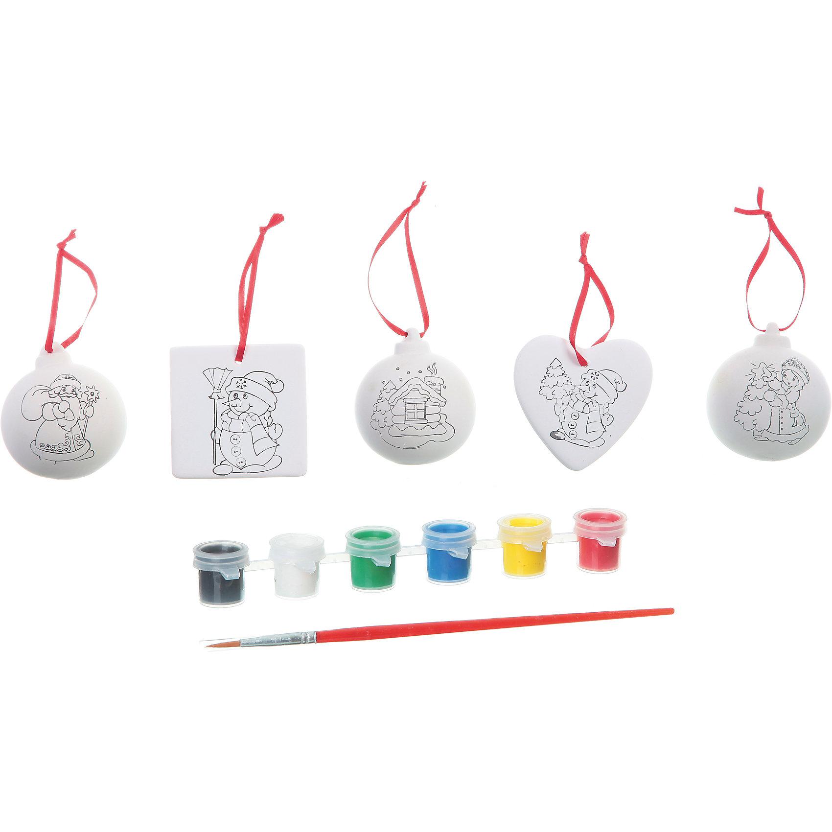 Набор для творчества Ёлочные украшения, BondibonНабор для творчества Ёлочные украшения Bondibon (Бондибон).<br><br>Характеристики:<br><br>• Материал: керамика, краски, дерево, текстиль.<br>• Размеры упаковки: 27 х 22 х 6 см.<br>• В набор входит: <br>- 5 фигурок для раскрашивания, <br>- краски 6 цветов,<br>- кисточка, <br>- инструкция.<br><br>Создайте новогоднее настроение вместе со своими детьми! Набор «Ёлочные украшения» поможет вам провести творчески досуг и создаст праздничное настроение. Набор представляет собой керамические заготовки в виде шаров с изображением домика, деда Мороза и Снегурочки, а также сердечка и медальона с изображением снеговика, которые нужно раскрасить различными цветами так, как вам подскажет фантазия. Раскрашивать изделия из керамики - очень интересно и увлекательно. Работа с таким набором помогает развить творческие способности, усидчивость, внимательность, самостоятельность, координацию движений.<br><br>Набор для творчества Ёлочные украшения Bondibon (Бондибон), можно купить в нашем интернет – магазине.<br><br>Ширина мм: 262<br>Глубина мм: 60<br>Высота мм: 222<br>Вес г: 533<br>Возраст от месяцев: 60<br>Возраст до месяцев: 1188<br>Пол: Унисекс<br>Возраст: Детский<br>SKU: 5124529