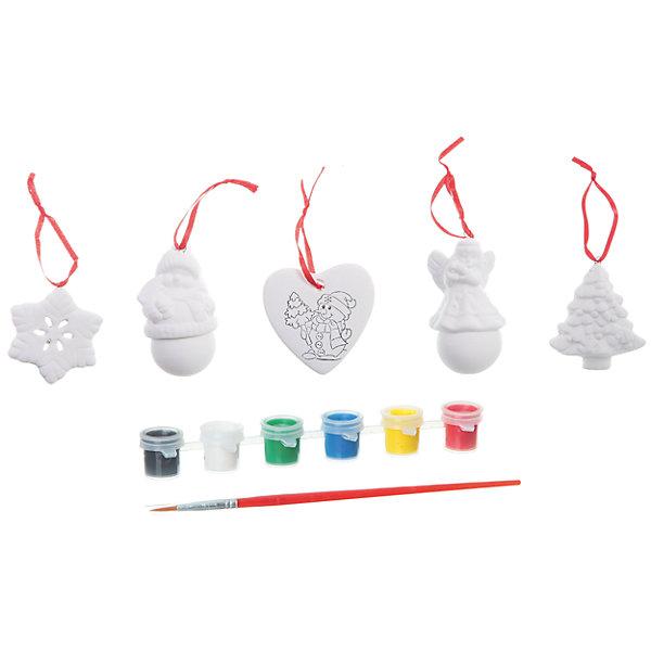 Набор для творчества Ёлочные украшения, BondibonНаборы для творчества новогодние<br>Набор для творчества Ёлочные украшения Bondibon (Бондибон).<br><br>Характеристики:<br><br>• Материал: керамика, краски, дерево, текстиль.<br>• Размеры упаковки: 27 х 22 х 6 см.<br>• В набор входит: <br>- 5 фигурок для раскрашивания, <br>- краски 6 цветов,<br>- кисточка, <br>- инструкция.<br><br>Создайте новогоднее настроение вместе со своими детьми! Набор «Ёлочные украшения» поможет вам провести творчески досуг и создаст праздничное настроение. Набор представляет собой керамические фигурки в виде Ангелочка, малыша, снежинки, сердечка и елочки, которые нужно раскрасить различными цветами так, как вам подскажет фантазия. Раскрашивать изделия из керамики - очень интересно и увлекательно. Работа с таким набором помогает развить творческие способности, усидчивость, внимательность, самостоятельность, координацию движений.<br><br>Набор для творчества Ёлочные украшения Bondibon (Бондибон), можно купить в нашем интернет – магазине.<br><br>Ширина мм: 262<br>Глубина мм: 60<br>Высота мм: 222<br>Вес г: 475<br>Возраст от месяцев: 60<br>Возраст до месяцев: 1188<br>Пол: Унисекс<br>Возраст: Детский<br>SKU: 5124530
