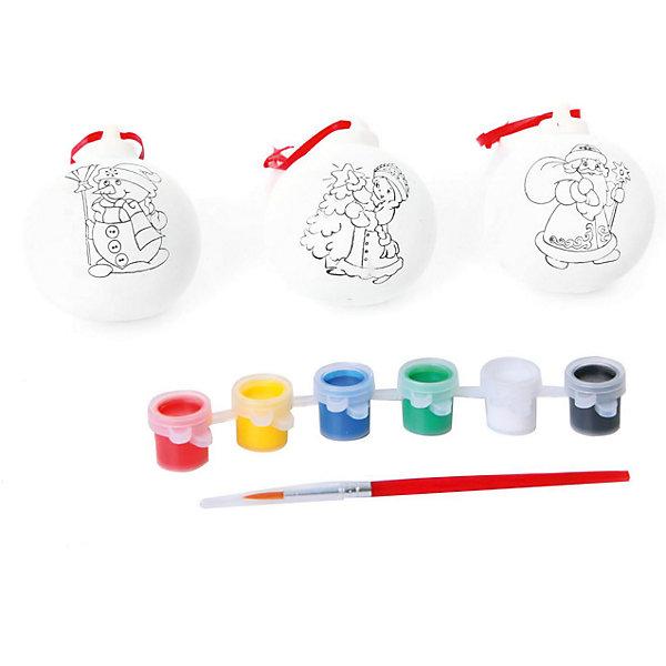 Набор для творчества 3 украшения с красками и кисточкой, BondibonНаборы для творчества новогодние<br>Набор для творчества 3 украшения с красками и кисточкой, Bondibon (Бондибон).<br><br>Характеристики:<br><br>• Материал: керамика, краски, текстиль.<br>• Размеры упаковки: 27 х 22 х 6 см.<br>• В набор входит: <br>- 3 фигурки для раскрашивания, <br>- краски 6 цветов,<br>- кисточка, <br>- инструкция.<br><br>Создайте новогоднее настроение вместе со своими детьми! Набор «3 украшения» поможет вам провести творчески досуг и создаст праздничное настроение. Набор представляет собой керамические фигурки в виде 3 елочных шариков, которые нужно раскрасить различными цветами так, как вам подскажет фантазия. Раскрашивать изделия из керамики - очень интересно и увлекательно. Работа с таким набором помогает развить творческие способности, усидчивость, внимательность, самостоятельность, координацию движений.<br><br>Набор для творчества 3 украшения с красками и кисточкой, Bondibon (Бондибон), можно купить в нашем интернет – магазине.<br><br>Ширина мм: 245<br>Глубина мм: 75<br>Высота мм: 140<br>Вес г: 358<br>Возраст от месяцев: 60<br>Возраст до месяцев: 1188<br>Пол: Унисекс<br>Возраст: Детский<br>SKU: 5124531