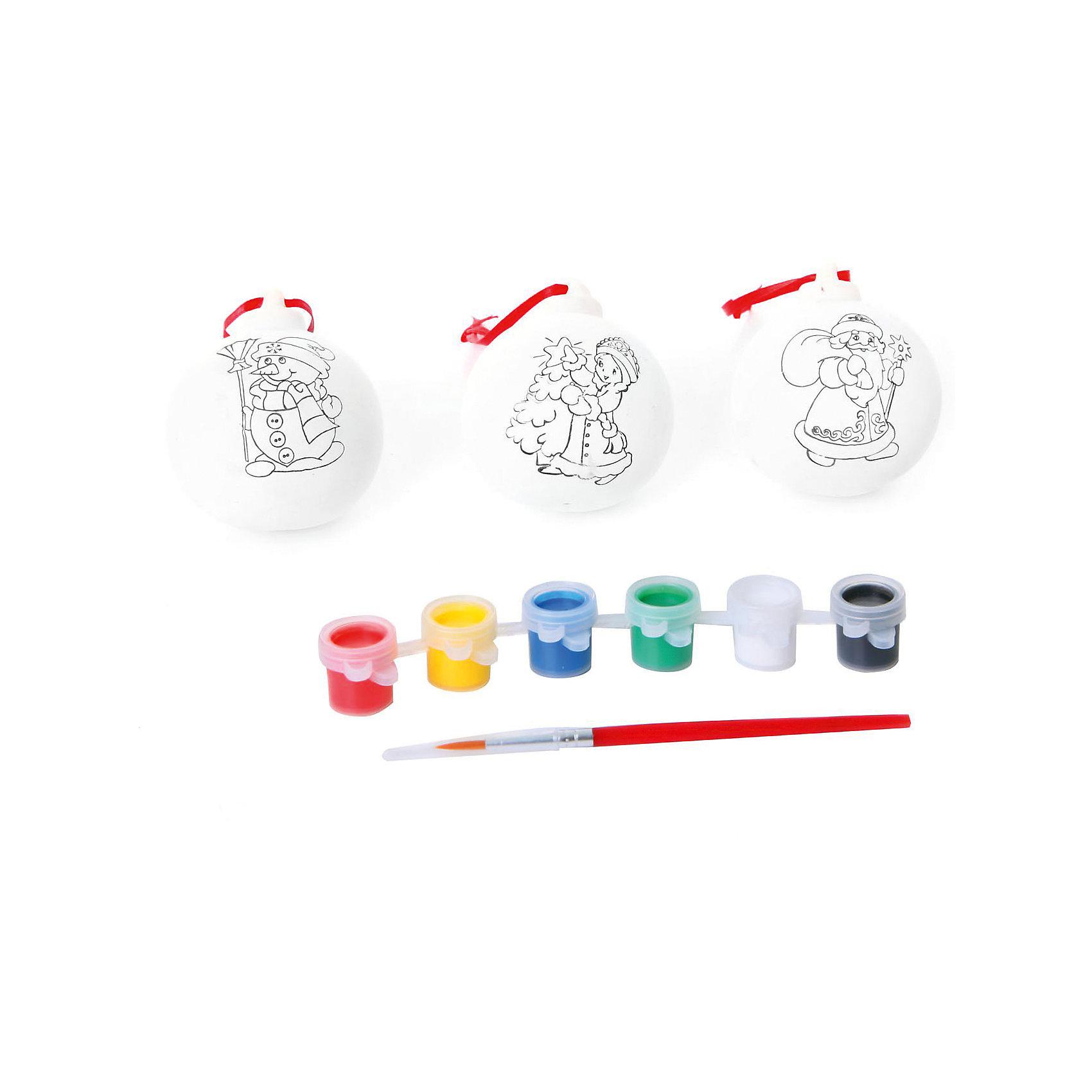 Bondibon Набор для творчества 3 украшения с красками и кисточкой, Bondibon набор bondibon ёлочные украшения в технике декупаж bb1744