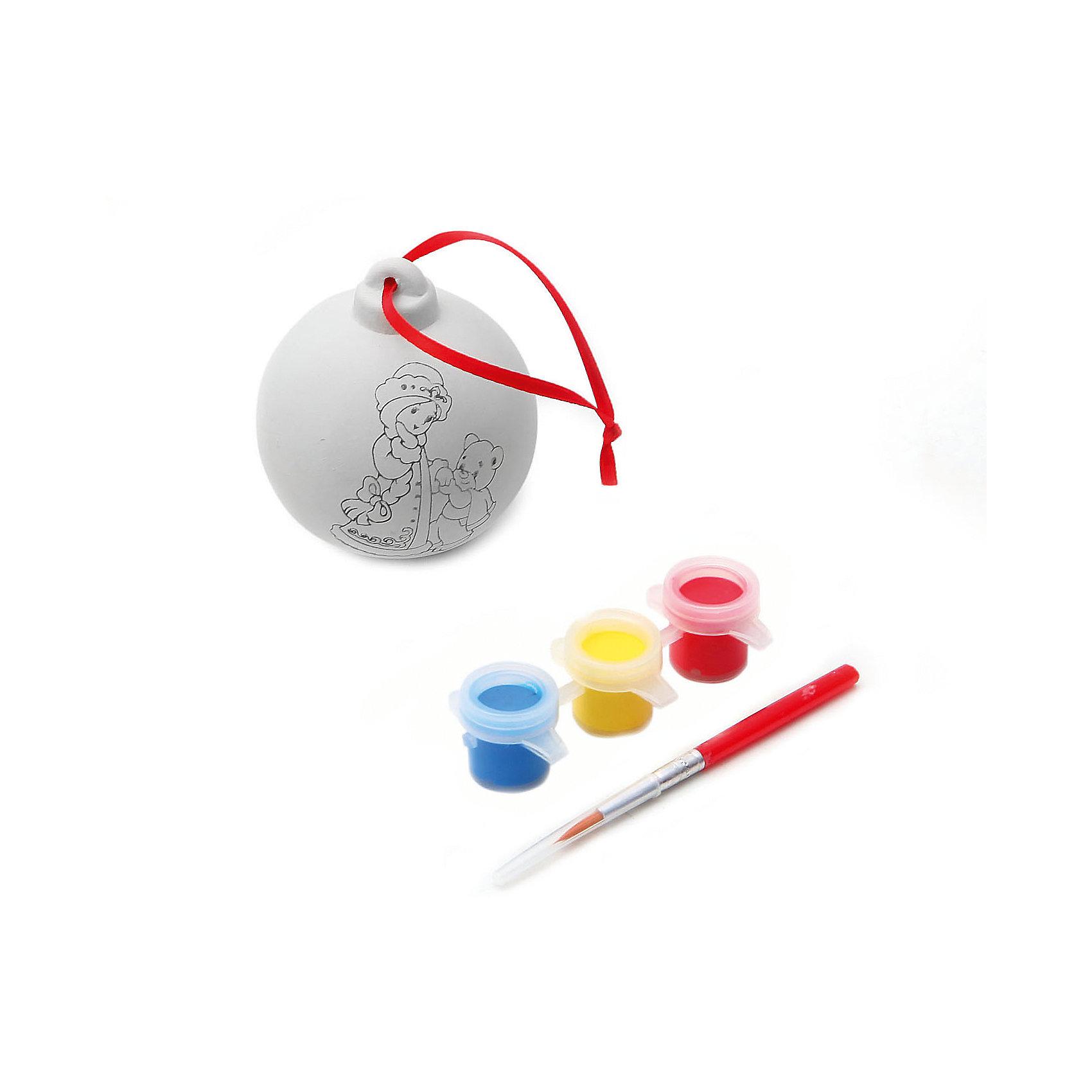 Набор для творчества Шар, BondibonНаборы для творчества новогодние<br>Набор для творчества Шар с красками и кисточкой, Bondibon (Бондибон).<br><br>Характеристики:<br><br>• Материал: керамика, краски, текстиль.<br>• В набор входит: <br>- шар для раскрашивания, <br>- краски 6 цветов,<br>- кисточка, <br>- инструкция.<br><br>Создайте новогоднее настроение вместе со своими детьми! Набор «Шар» поможет вам провести творчески досуг и создаст праздничное настроение. В наборе керамическая фигурка елочного шара, которую нужно раскрасить так, как вам подскажет фантазия. Раскрашивать изделия из керамики - очень интересно и увлекательно. Такой шар, раскрашенный вручную, станет отличным подарком! Работа с таким набором помогает развить творческие способности, усидчивость, внимательность, самостоятельность, координацию движений.<br><br>Набор для творчества Шар с красками и кисточкой, Bondibon (Бондибон), можно купить в нашем интернет – магазине.<br><br>Ширина мм: 110<br>Глубина мм: 65<br>Высота мм: 170<br>Вес г: 115<br>Возраст от месяцев: 60<br>Возраст до месяцев: 1188<br>Пол: Унисекс<br>Возраст: Детский<br>SKU: 5124532