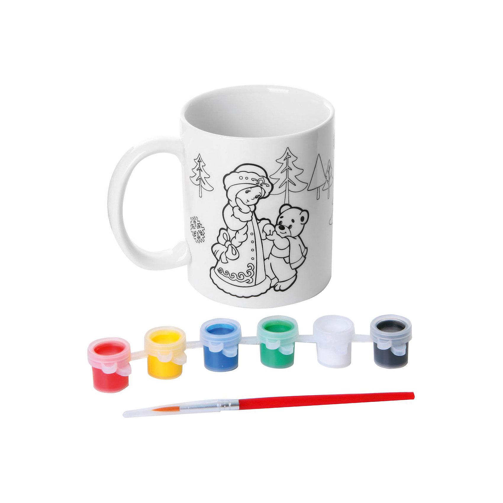 Набор для росписи кружки Снегурочка, BondibonНаборы для росписи<br>Набор для творчества Кружка с красками и кисточкой, Bondibon (Бондибон).<br><br>Характеристики:<br><br>• Материал: керамика, краски, текстиль.<br>• В набор входит: <br>- кружка для раскрашивания, <br>- краски 6 цветов,<br>- кисточка, <br>- инструкция.<br><br>Создайте новогоднее настроение вместе со своими детьми! Набор «Кружка» поможет вам провести творчески досуг и создаст праздничное настроение. В наборе керамическая кружка, которую нужно раскрасить так, как вам подскажет фантазия. Раскрашивать изделия из керамики - очень интересно и увлекательно. Такая кружка, раскрашенная вручную, станет отличным подарком! Работа с таким набором помогает развить творческие способности, усидчивость, внимательность, самостоятельность, координацию движений.<br><br>Набор для творчества Кружка с красками и кисточкой, Bondibon (Бондибон), можно купить в нашем интернет – магазине.<br><br>Ширина мм: 102<br>Глубина мм: 100<br>Высота мм: 102<br>Вес г: 371<br>Возраст от месяцев: 60<br>Возраст до месяцев: 1188<br>Пол: Унисекс<br>Возраст: Детский<br>SKU: 5124533