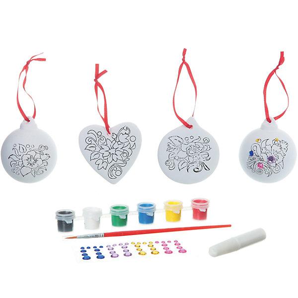 Набор для творчества со стразами (2 шарика, сердце, круг), BondibonНаборы для творчества новогодние<br>Набор для творчества со стразами (2 шарика, сердце, круг) Bondibon (Бондибон).<br><br>Характеристики:<br><br>• Материал: керамика, краски, текстиль.<br>• В набор входит: <br>- 4 керамических фигурок для раскрашивания, <br>- краски 6 цветов,<br>- кисточка, <br>- разноцветные стразы,<br>- инструкция.<br><br>Создайте новогоднее настроение вместе со своими детьми! Набор для творчества с Машей поможет вам провести творчески досуг и создаст праздничное настроение. В наборе 5 керамические фигуки для раскрашивания: 2 шарика, круг, сердце, которые нужно раскрасить так, как вам подскажет фантазия. Разноцветные мерцающие стразы сделают игрушки по- настоящему волшебными и новогодними. Раскрашивать изделия из керамики - очень интересно и увлекательно. Такие фигурки, раскрашенные вручную, станут отличным подарком! Работа с таким набором помогает развить творческие способности, усидчивость, внимательность, самостоятельность, координацию движений.<br><br>Набор для творчества со стразами (2 шарика, сердце, круг) Bondibon (Бондибон), можно купить в нашем интернет – магазине.<br><br>Ширина мм: 262<br>Глубина мм: 60<br>Высота мм: 222<br>Вес г: 500<br>Возраст от месяцев: 60<br>Возраст до месяцев: 1188<br>Пол: Унисекс<br>Возраст: Детский<br>SKU: 5124540