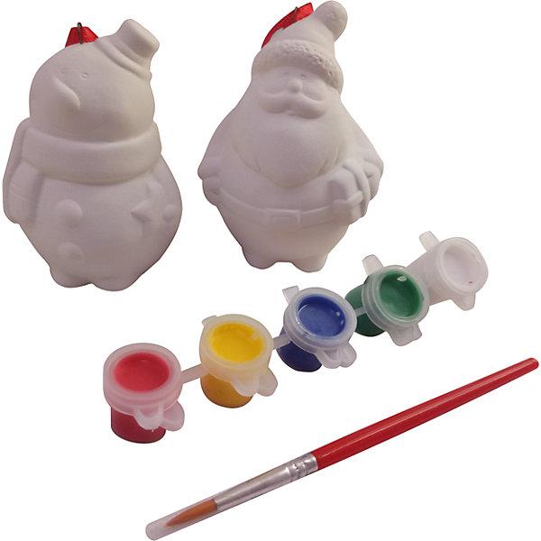 Набор для творчества Дед Мороз и Снеговик, BondibonНовогодние наборы для творчества<br>Набор для творчества Дед Мороз и Снеговик, Bondibon (Бондибон).<br><br>Характеристики:<br><br>• Материал: керамика, краски, текстиль.<br>• В набор входит: <br>- 2 керамическая фигурка (Дед Мороз и снеговик) для раскрашивания, <br>- краски 3 цвета,<br>- кисточка, <br>- инструкция.<br><br>Создайте новогоднее настроение вместе со своими детьми! Набор для творчества Дед Мороз и Снеговик, поможет вам провести творчески досуг и создаст праздничное настроение. В наборе керамические фигурки Деда Мороза и Снеговика для раскрашивания, которые ваш ребенок может раскрасить по своему вкусу. Раскрашивать изделия из керамики - очень интересно и увлекательно. Такие фигурки, раскрашенные вручную, станут отличным подарком! Работа с таким набором помогает развить творческие способности, усидчивость, внимательность, самостоятельность, координацию движений.<br><br>Набор для творчества Дед Мороз и Снеговик, Bondibon (Бондибон), можно купить в нашем интернет – магазине.<br>Ширина мм: 160; Глубина мм: 60; Высота мм: 130; Вес г: 192; Возраст от месяцев: 60; Возраст до месяцев: 1188; Пол: Унисекс; Возраст: Детский; SKU: 5124546;