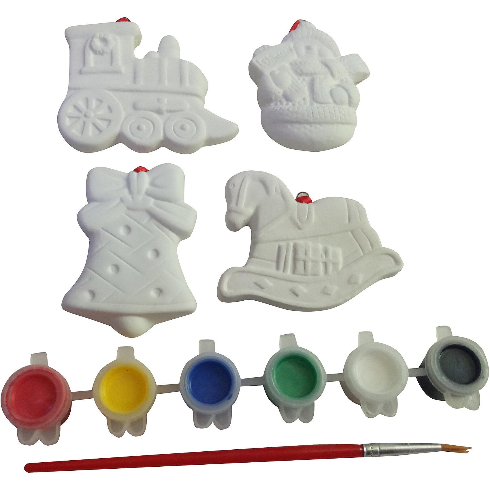 Набор для творчества Ёлочные украшения (паровоз, снеговик, колокольчик, лошадка)Новогоднее творчество<br>Набор для творчества Ёлочные украшения (паровоз, снеговик, колокольчик, лошадка).<br><br>Характеристики:<br><br>- В наборе: 4 фигурки, 6 разноцветных красок, кисточка<br>- Цвета: красный, желтый, синий, зеленый, белый, черный<br>- Материал фигурок: керамика<br>- Упаковка: картонная коробка блистерного типа<br>- Размер упаковки: 17 х 2,5 х 22 см.<br>- Вес: 225 гр.<br> <br>Набор для творчества Ёлочные украшения включает в себя все необходимое для создания оригинальных новогодних поделок. Фигурки из набора представляют собой  керамические заготовки в виде паровоза, снеговика, колокольчика, лошадки, которые нужно раскрасить различными цветами так, как подскажет фантазия. Для творчества, в наборе предусмотрены краски шести цветов и кисточка. Примеры росписи фигурок вы найдете в инструкции. Яркие краски хорошо ложатся на поверхность фигурок и быстро сохнут. Фигурки, раскрашенные своими руками, станут прекрасным украшением новогодней елки или замечательным подарком для близких и друзей. Раскрашивать изделия из керамики не только очень интересно и увлекательно, но и полезно. Ведь процесс раскрашивания помогает развить творческие способности, усидчивость, внимательность, самостоятельность, координацию движений.<br><br>Набор для творчества Ёлочные украшения (паровоз, снеговик, колокольчик, лошадка) можно купить в нашем интернет-магазине.<br><br>Ширина мм: 170<br>Глубина мм: 25<br>Высота мм: 220<br>Вес г: 225<br>Возраст от месяцев: 60<br>Возраст до месяцев: 1188<br>Пол: Унисекс<br>Возраст: Детский<br>SKU: 5124547