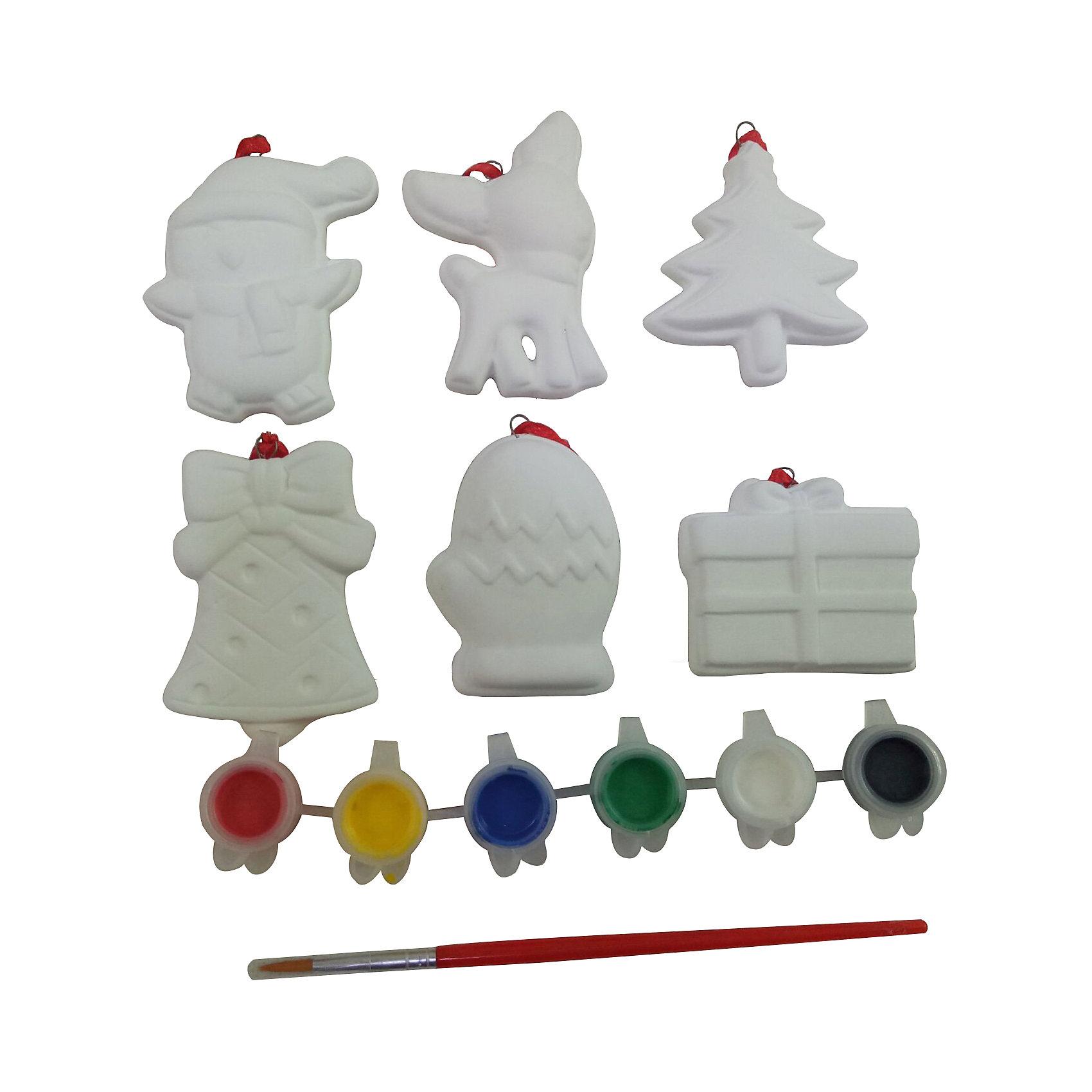 Набор для творчества Ёлочные украшения 6 фигурокНабор для творчества – создание оригинального подарка своими руками. В комплекте есть всё необходимое для росписи керамических фигурок : 6 фигурок и 6 разноцветных красок с кисточкой.<br><br>Ширина мм: 190<br>Глубина мм: 30<br>Высота мм: 260<br>Вес г: 254<br>Возраст от месяцев: 60<br>Возраст до месяцев: 1188<br>Пол: Унисекс<br>Возраст: Детский<br>SKU: 5124548