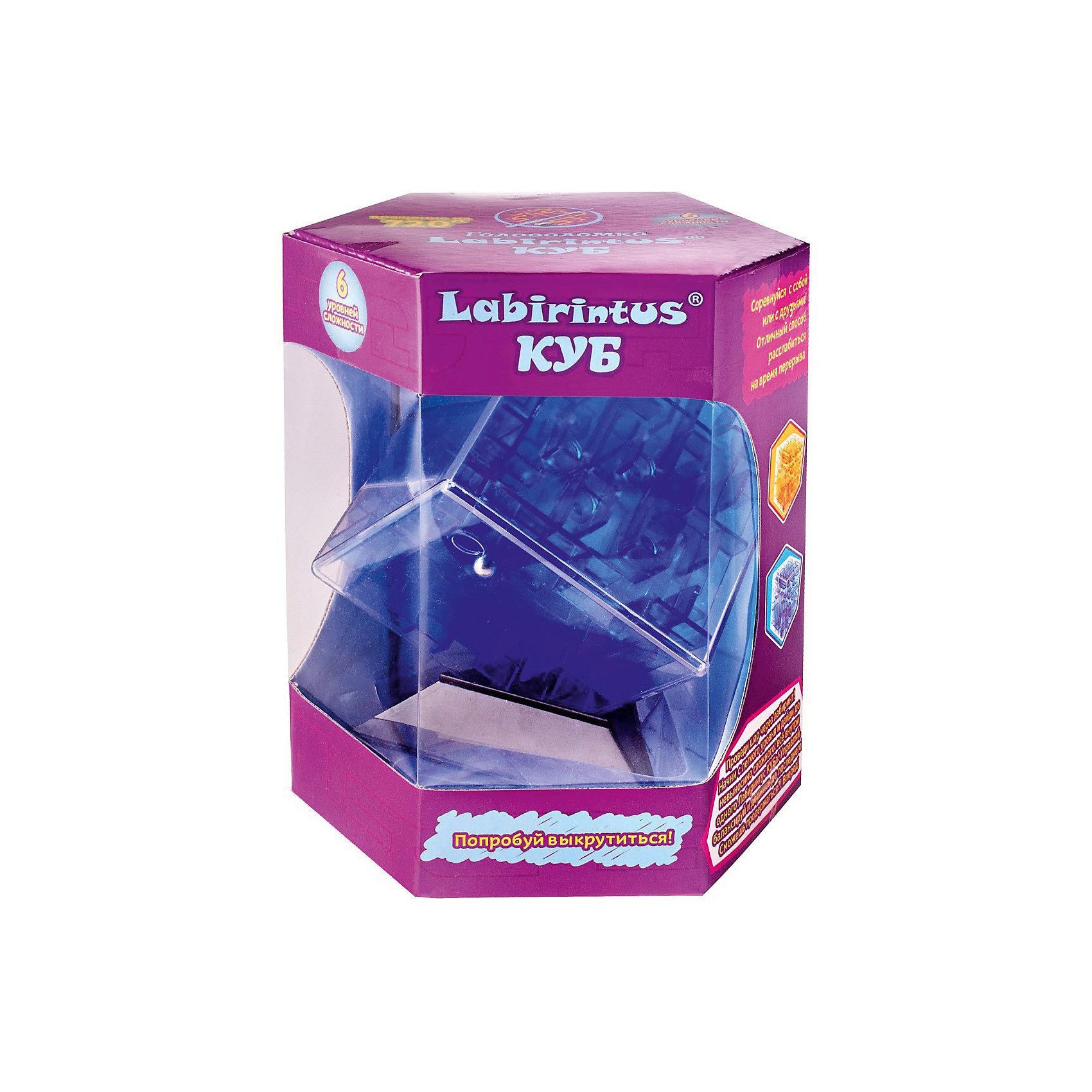 Лабиринтус Куб,  10см, синий, прозрачный, Labirintus