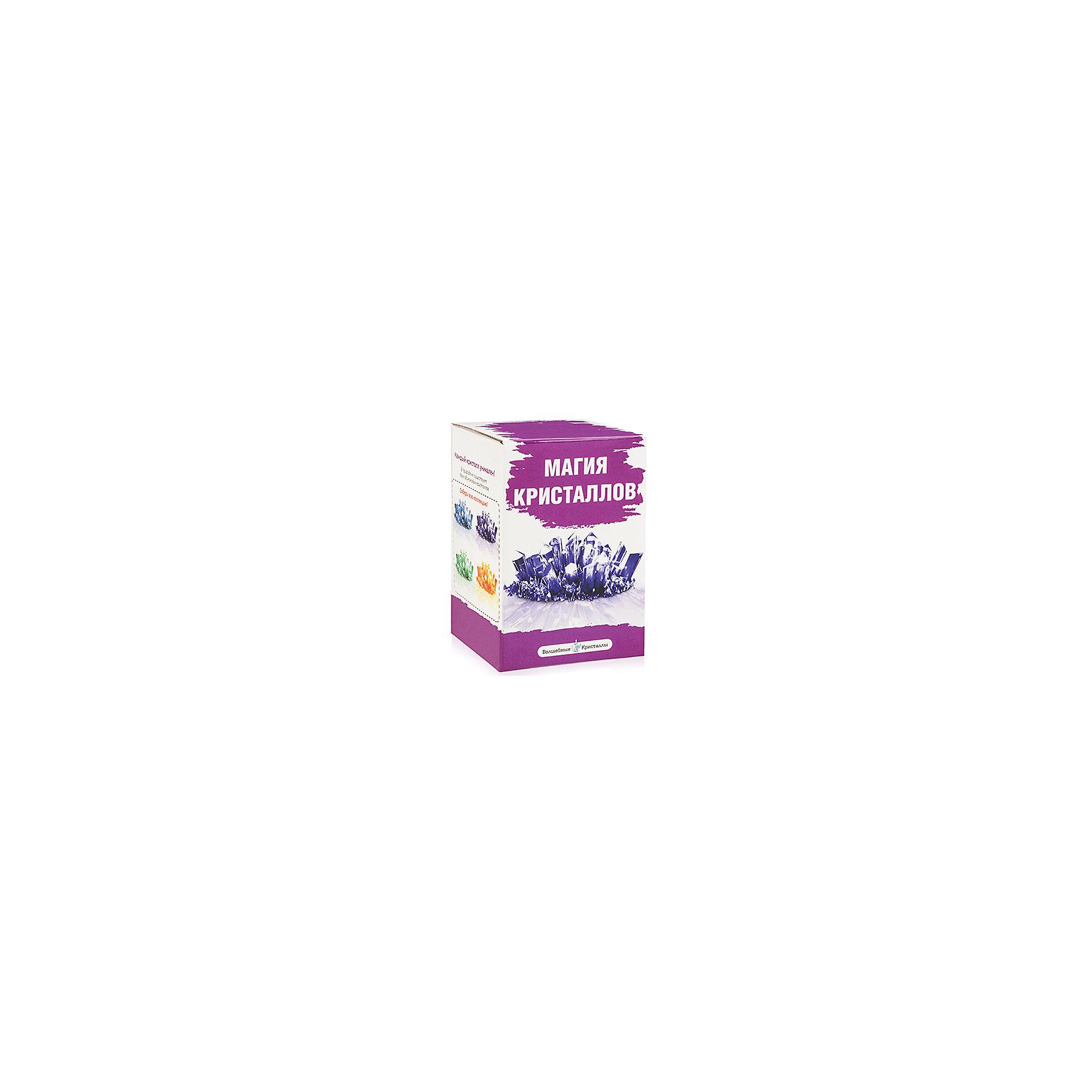 Набор для выращивания кристаллов Фиолетовый, Магия кристалловНабор для выращивания кристаллов Фиолетовый, Магия кристаллов, Бумбарам<br><br>Характеристики:<br><br>• подходит для первых химических опытов<br>• прост в применении<br>• яркие цвета<br>• развивает внимательность и усидчивость<br>• в комплекте: баночка, специальный порошок, таблетка-основа, ложка, перчатки<br>• размер: 8х8х12 см<br>• вес: 115 грамм<br><br>Если ваш ребенок начал интересоваться химическими опытами, то его обязательно порадует набор для выращивания кристаллов Фиолетовый, Магия кристаллов. С его помощью ребенок с легкостью сможет провести интересный опыт и вырастить фиолетовый кристалл, который украсит его комнату. В комплекте есть пошаговая инструкция, благодаря которой процесс создания станет легким и увлекательным. Кристаллы начинают появляться уже через несколько минут, а спустя некоторое время вы сможете насладиться прекрасным сиянием готового шедевра!<br><br>Набор для выращивания кристаллов Фиолетовый, Магия кристаллов, Бумбарам вы можете купить в нашем интернет-магазине.<br><br>Ширина мм: 120<br>Глубина мм: 80<br>Высота мм: 80<br>Вес г: 115<br>Возраст от месяцев: 72<br>Возраст до месяцев: 108<br>Пол: Унисекс<br>Возраст: Детский<br>SKU: 5124680