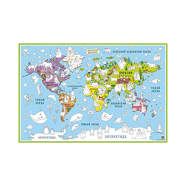 Карта-раскраска Карта мира Животные