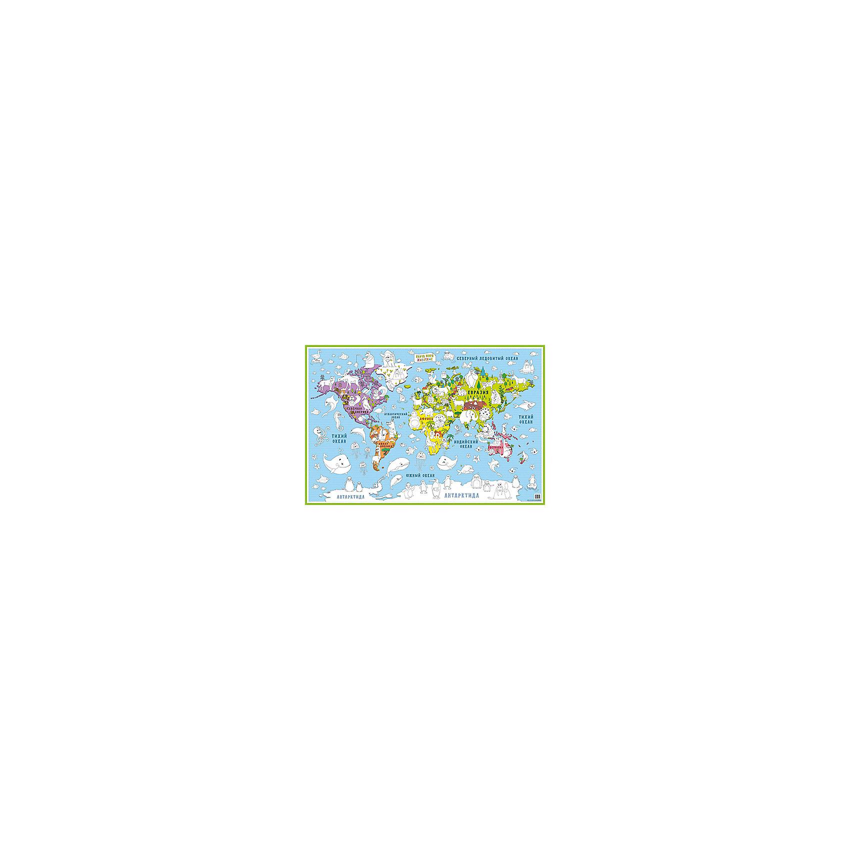Бумбарам Карта-раскраска Карта мира Животные бумбарам настольная двухсторонняя карта мира для детей