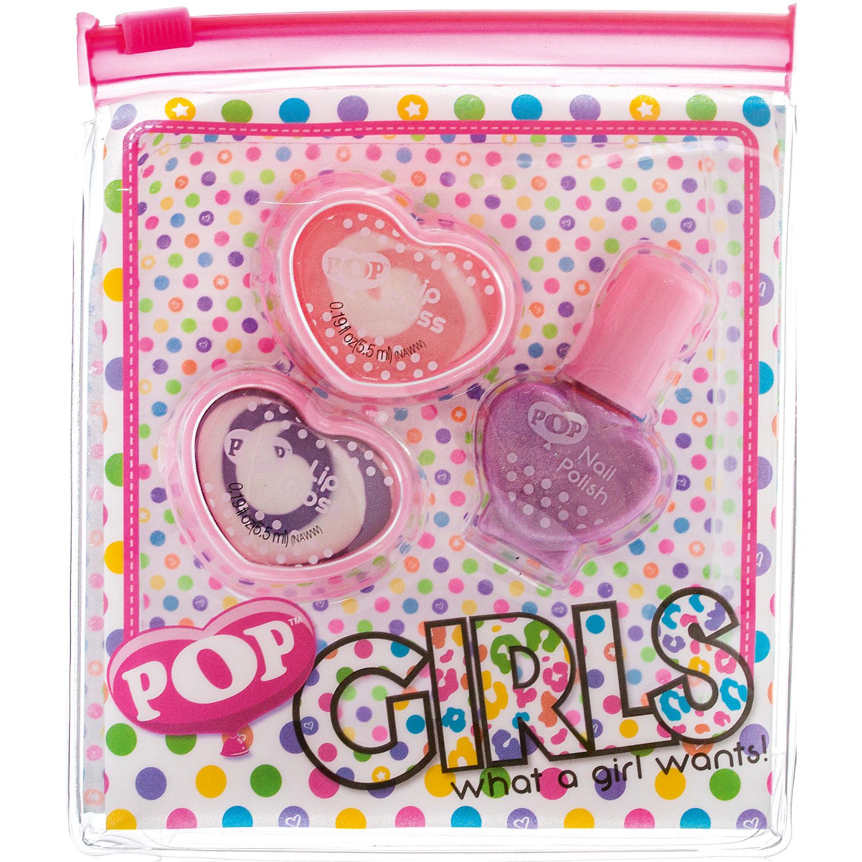 Набор детской косметики Pop Girls для губ и ногтейХарактеристики:<br><br>• Наименование: детская декоративная косметика<br>• Предназначение: для сюжетно-ролевых игр<br>• Пол: для девочки<br>• Материал: натуральные косметические компоненты, пластик<br>• Цвет: розовый, сиреневый<br>• Комплектация: 2 баночки блеска для губ, лак для ногтей<br>• Размеры (Д*Ш*В): 11*2*13 см<br>• Вес: 55 г <br>• Упаковка: косметичка на замочке<br><br>Игровой набор детской декоративной косметики POP для губ и ногтей – это набор игровой детской косметики от Markwins, которая вот уже несколько десятилетий специализируется на выпуске детской косметики. Рецептура декоративной детской косметики разработана совместно с косметологами и медиками, в основе рецептуры – водная основа, а потому она гипоаллергенны, не вызывает раздражений на детской коже и легко смывается, не оставляя следа. Безопасность продукции подтверждена международными сертификатами качества и безопасности. <br>Игровой набор детской декоративной косметики POP для губ и ногтей состоит из 2-х баночек блеска для губ модных в любом сезоне оттенков и лака для ногтей. Набор упакован в косметичку на замочке-молнии. Косметические средства, входящие в состав набора, имеют длительный срок хранения – 12 месяцев. Игровой набор детской декоративной косметики POP для губ и ногтей от Markwins может стать незаменимым праздничным подарком для любой маленькой модницы!<br><br>Игровой набор детской декоративной косметики POP для губ и ногтей можно купить в нашем интернет-магазине.<br><br>Ширина мм: 110<br>Глубина мм: 130<br>Высота мм: 30<br>Вес г: 68<br>Возраст от месяцев: 48<br>Возраст до месяцев: 120<br>Пол: Женский<br>Возраст: Детский<br>SKU: 5124693