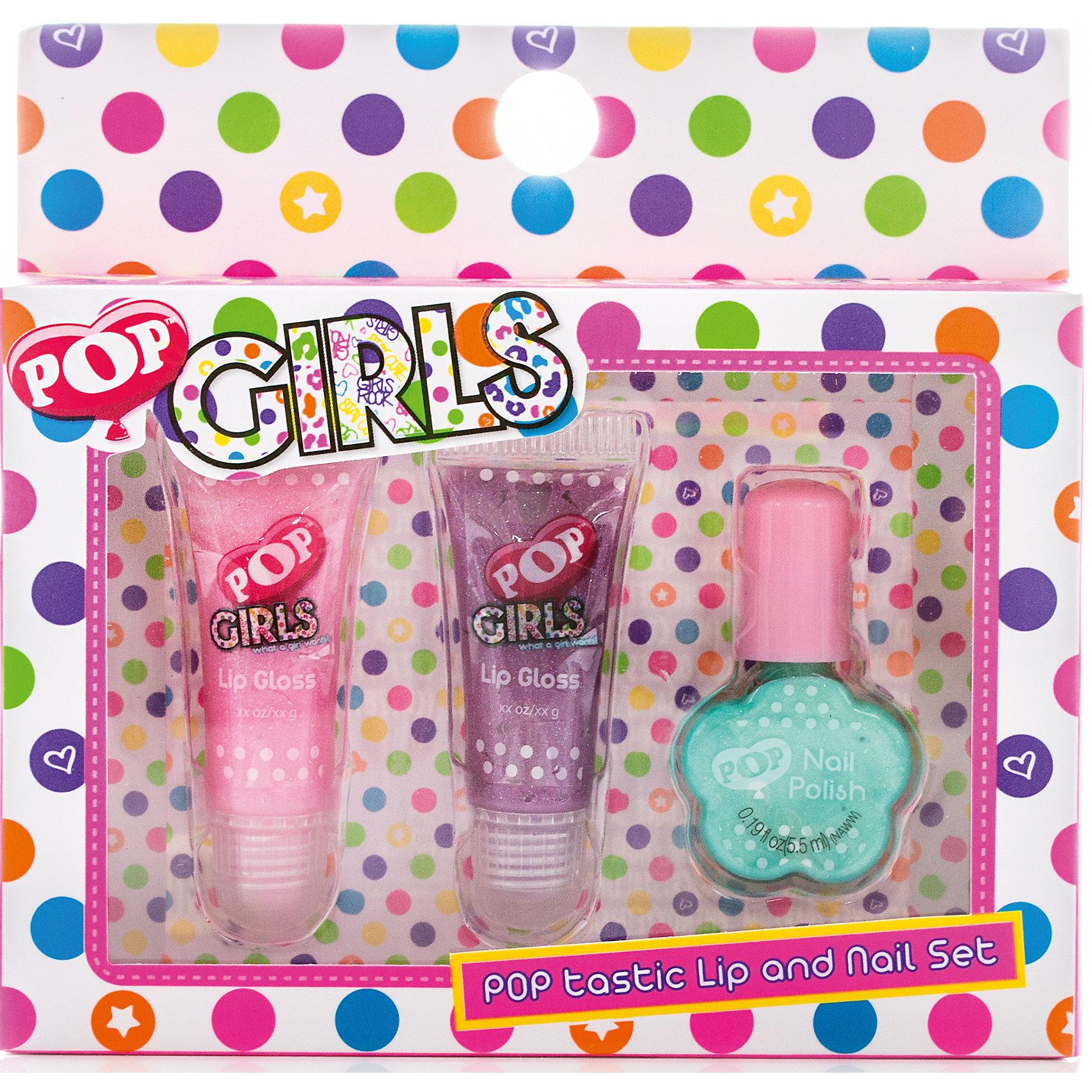 Набор детской косметики Pop GirlsНаборы детской косметики<br>Характеристики:<br><br>• Наименование: детская декоративная косметика<br>• Предназначение: для сюжетно-ролевых игр<br>• Пол: для девочки<br>• Материал: натуральные косметические компоненты, пластик, картон<br>• Цвет: розовый, сиреневый, бирюзовый<br>• Комплектация: 2 блеска для губ в тубах, лак для ногтей<br>• Размеры (Д*Ш*В): 13*2*13 см<br>• Вес: 90 г <br>• Упаковка: картонная упаковка с блистером<br><br>Игровой набор детской декоративной косметики POP для губ и ногтей – это набор игровой детской косметики от Markwins, которая вот уже несколько десятилетий специализируется на выпуске детской косметики. Рецептура декоративной детской косметики разработана совместно с косметологами и медиками, в основе рецептуры – водная основа, а потому она гипоаллергенны, не вызывает раздражений на детской коже и легко смывается, не оставляя следа. Безопасность продукции подтверждена международными сертификатами качества и безопасности. <br>Игровой набор детской декоративной косметики POP для губ и ногтей состоит из 2-х туб блеска для губ модных в любом сезоне оттенков и лака для ногтей. Набор упакован в косметичку на замочке-молнии. Косметические средства, входящие в состав набора, имеют длительный срок хранения – 12 месяцев. Игровой набор детской декоративной косметики POP для губ и ногтей от Markwins может стать незаменимым праздничным подарком для любой маленькой модницы!<br><br>Игровой набор детской декоративной косметики POP для губ и ногтей можно купить в нашем интернет-магазине.<br><br>Ширина мм: 140<br>Глубина мм: 130<br>Высота мм: 30<br>Вес г: 68<br>Возраст от месяцев: 48<br>Возраст до месяцев: 120<br>Пол: Женский<br>Возраст: Детский<br>SKU: 5124694