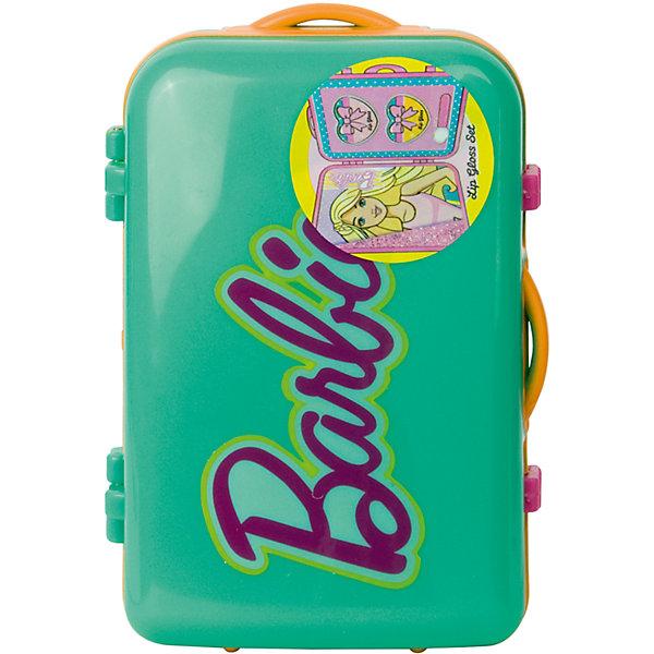 Набор детской косметики Barbie в чемоданчике, зеленыйНаборы детской косметики<br>Характеристики:<br><br>• Наименование: детская декоративная косметика<br>• Предназначение: для сюжетно-ролевых игр<br>• Серия: Barbie<br>• Пол: для девочки<br>• Материал: натуральные косметические компоненты, пластик<br>• Цвет: в ассортименте<br>• Комплектация: 2 баночки блеска для губ, аппликатор<br>• Размеры (Д*Ш*В): 11*7*5 см<br>• Вес: 90 г <br>• Упаковка: пластиковый чемоданчик с ручками<br><br>Игровой набор детской декоративной косметики в зеленом чемоданчике, Barbie – это набор игровой детской косметики от Markwins, которая вот уже несколько десятилетий специализируется на выпуске детской косметики. Рецептура декоративной детской косметики разработана совместно с косметологами и медиками, в основе рецептуры – водная основа, а потому она гипоаллергенны, не вызывает раздражений на детской коже и легко смывается, не оставляя следа. Безопасность продукции подтверждена международными сертификатами качества и безопасности. <br>Игровой набор детской декоративной косметики состоит из двух баночек блеска для губ и аппликатора для его нанесения. Косметические средства, входящие в состав набора, имеют длительный срок хранения – 12 месяцев. Набор выполнен в брендовом дизайне популярной серии Barbie, упакован в шкатулку в виде дорожного чемодана. Игровой набор детской декоративной косметики от Markwins может стать незаменимым праздничным подарком для любой маленькой модницы!<br><br>Игровой набор детской декоративной косметики в зеленом чемоданчике, Barbie можно купить в нашем интернет-магазине.<br><br>Ширина мм: 32<br>Глубина мм: 95<br>Высота мм: 63<br>Вес г: 107<br>Возраст от месяцев: 48<br>Возраст до месяцев: 120<br>Пол: Женский<br>Возраст: Детский<br>SKU: 5124697