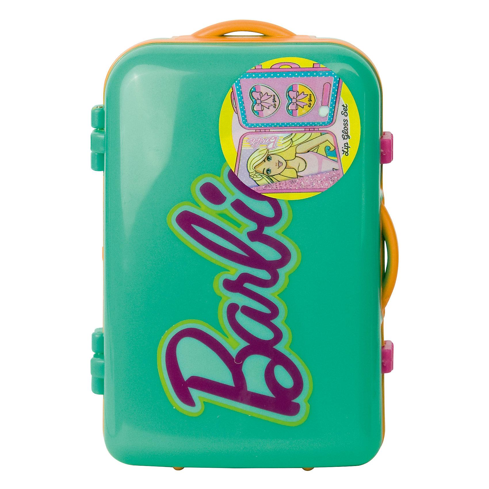Набор детской косметики Barbie в чемоданчике, зеленыйКосметика, грим и парфюмерия<br>Характеристики:<br><br>• Наименование: детская декоративная косметика<br>• Предназначение: для сюжетно-ролевых игр<br>• Серия: Barbie<br>• Пол: для девочки<br>• Материал: натуральные косметические компоненты, пластик<br>• Цвет: в ассортименте<br>• Комплектация: 2 баночки блеска для губ, аппликатор<br>• Размеры (Д*Ш*В): 11*7*5 см<br>• Вес: 90 г <br>• Упаковка: пластиковый чемоданчик с ручками<br><br>Игровой набор детской декоративной косметики в зеленом чемоданчике, Barbie – это набор игровой детской косметики от Markwins, которая вот уже несколько десятилетий специализируется на выпуске детской косметики. Рецептура декоративной детской косметики разработана совместно с косметологами и медиками, в основе рецептуры – водная основа, а потому она гипоаллергенны, не вызывает раздражений на детской коже и легко смывается, не оставляя следа. Безопасность продукции подтверждена международными сертификатами качества и безопасности. <br>Игровой набор детской декоративной косметики состоит из двух баночек блеска для губ и аппликатора для его нанесения. Косметические средства, входящие в состав набора, имеют длительный срок хранения – 12 месяцев. Набор выполнен в брендовом дизайне популярной серии Barbie, упакован в шкатулку в виде дорожного чемодана. Игровой набор детской декоративной косметики от Markwins может стать незаменимым праздничным подарком для любой маленькой модницы!<br><br>Игровой набор детской декоративной косметики в зеленом чемоданчике, Barbie можно купить в нашем интернет-магазине.<br><br>Ширина мм: 32<br>Глубина мм: 95<br>Высота мм: 63<br>Вес г: 107<br>Возраст от месяцев: 48<br>Возраст до месяцев: 120<br>Пол: Женский<br>Возраст: Детский<br>SKU: 5124697