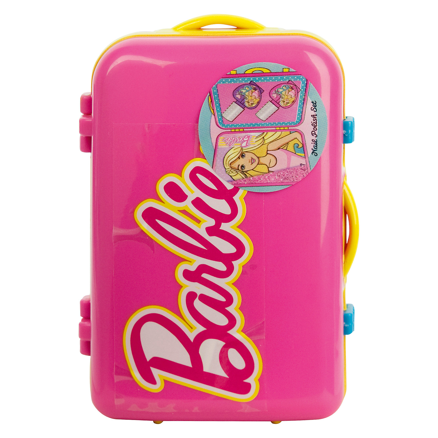 Набор косметики для ногтей Barbie в чемоданчике, розовыйХарактеристики:<br><br>• Наименование: детская декоративная косметика<br>• Предназначение: для сюжетно-ролевых игр<br>• Серия: Barbie<br>• Пол: для девочки<br>• Материал: натуральные косметические компоненты, пластик<br>• Цвет: в ассортименте<br>• Комплектация: 2 лака для ногтей<br>• Размеры (Д*Ш*В): 11*7*5 см<br>• Вес: 90 г <br>• Упаковка: пластиковый чемоданчик с ручками<br><br>Игровой набор детской декоративной косметики в розовом чемоданчике, Barbie – это набор игровой детской косметики от Markwins, которая вот уже несколько десятилетий специализируется на выпуске детской косметики. Рецептура декоративной детской косметики разработана совместно с косметологами и медиками, в основе рецептуры – водная основа, а потому она гипоаллергенны, не вызывает раздражений на детской коже и легко смывается, не оставляя следа. Безопасность продукции подтверждена международными сертификатами качества и безопасности. <br>Игровой набор детской декоративной косметики состоит из двух оттенков лака для ногтей на водной основе. Косметические средства, входящие в состав набора, имеют длительный срок хранения – 12 месяцев. Набор выполнен в брендовом дизайне популярной серии Barbie, упакован в шкатулку в виде дорожного чемодана. Игровой набор детской декоративной косметики от Markwins может стать незаменимым праздничным подарком для любой маленькой модницы!<br><br>Игровой набор детской декоративной косметики в розовом чемоданчике, Barbie можно купить в нашем интернет-магазине.<br><br>Ширина мм: 32<br>Глубина мм: 95<br>Высота мм: 63<br>Вес г: 110<br>Возраст от месяцев: 48<br>Возраст до месяцев: 120<br>Пол: Женский<br>Возраст: Детский<br>SKU: 5124698