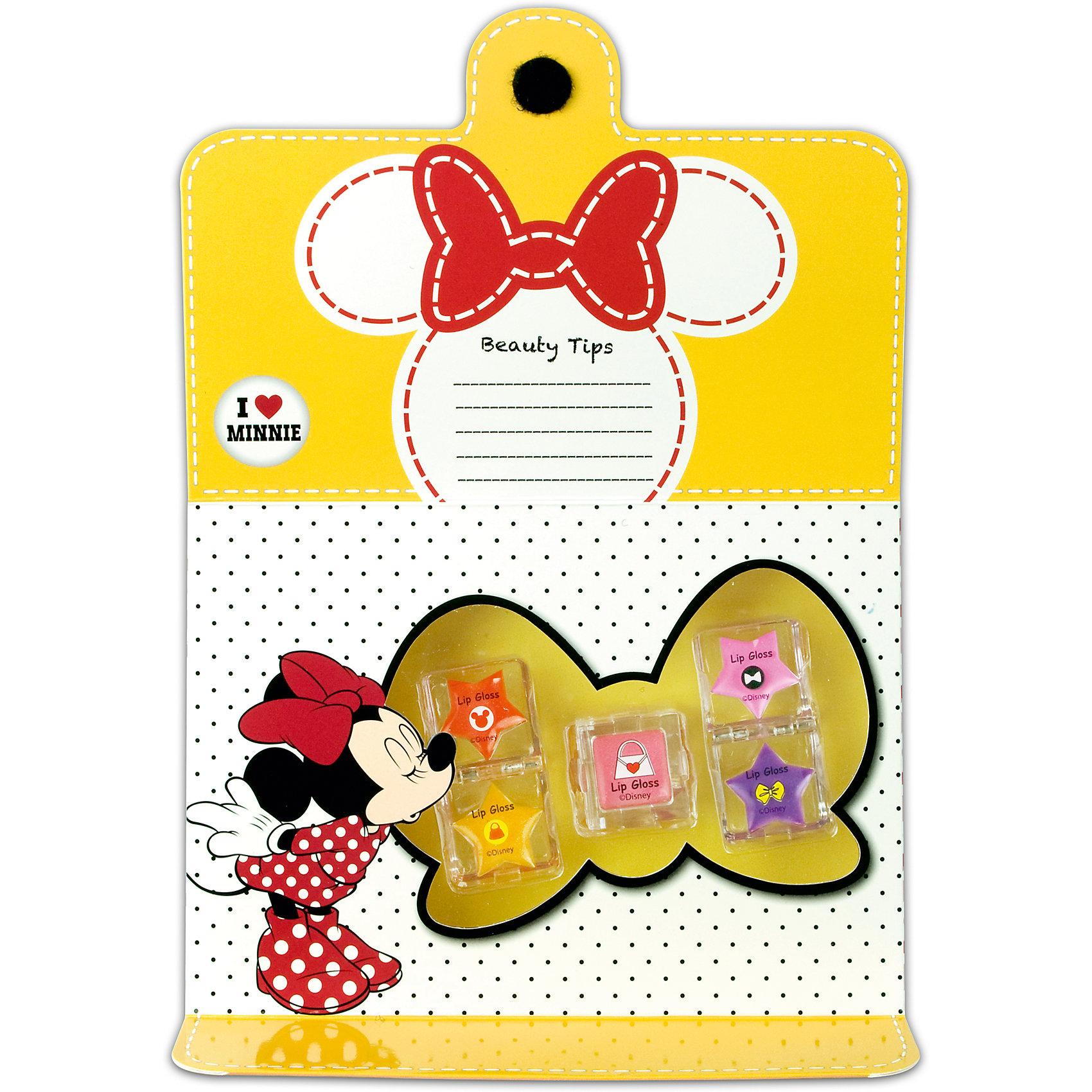 Набор детской косметики Minnie - Блеск для губХарактеристики:<br><br>• Наименование: детская декоративная косметика<br>• Предназначение: для сюжетно-ролевых игр<br>• Серия: Микки Маус и его друзья<br>• Пол: для девочки<br>• Материал: натуральные косметические компоненты, пластик, картон<br>• Цвет: оттенки розового, красный, сиреневый, желтый<br>• Комплектация: 5 оттенков блеска для губ<br>• Размеры (Д*Ш*В): 12*9*7 см<br>• Вес: 120 г <br>• Упаковка: упаковка в форме книжки<br><br>Игровой набор детской декоративной косметики для губ, Минни Маус – это набор игровой детской косметики от Markwins, которая вот уже несколько десятилетий специализируется на выпуске детской косметики. Рецептура декоративной детской косметики разработана совместно с косметологами и медиками, в основе рецептуры – водная основа, а потому она гипоаллергенны, не вызывает раздражений на детской коже и легко смывается, не оставляя следа. Безопасность продукции подтверждена международными сертификатами качества и безопасности. <br>Игровой набор детской декоративной косметики состоит из 5-ти ярких оттенков блеска для губ в тубах. Косметические средства, входящие в состав набора, имеют длительный срок хранения – 12 месяцев. Набор выполнен в брендовом дизайне популярной серии Микки Маус и его друзья, упаковка в форме книжки с яркими элементами может стать дополнительным аксессуаром к праздничному образу девочки. Игровой набор детской декоративной косметики от Markwins может стать незаменимым праздничным подарком для любой маленькой модницы!<br><br>Игровой набор детской декоративной косметики для губ, Минни Маус можно купить в нашем интернет-магазине.<br><br>Ширина мм: 190<br>Глубина мм: 140<br>Высота мм: 40<br>Вес г: 166<br>Возраст от месяцев: 48<br>Возраст до месяцев: 120<br>Пол: Женский<br>Возраст: Детский<br>SKU: 5124715