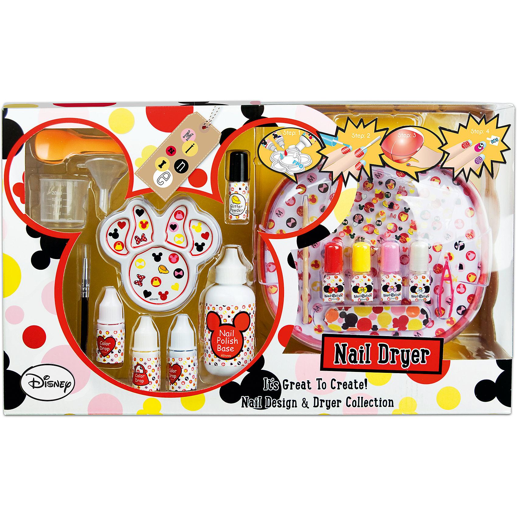 Набор детской декоративной косметики для ногтей Minnie MouseМинни Маус<br>Характеристики:<br><br>• Наименование: детская декоративная косметика<br>• Предназначение: для сюжетно-ролевых игр<br>• Серия: Микки Маус и его друзья<br>• Пол: для девочки<br>• Материал: натуральные косметические компоненты, пластик, текстиль<br>• Цвет: розовый, белый, желтый, красный и др.<br>• Комплектация: 3 оттенка красок для создания лака для ногтей, базовое вещество, блестки, палитра для смешивания компонентов, мерный стаканчик, ложечка, воронка, 4 флакона для переливания лака, палочка для кутикулы, пилочка для ногтей, пинцет, кисть для нанесения рисунка, наклейки, устройство для сушки лака<br>• Батарейки: 4 шт. типа АА (в наборе не предусмотрены)<br>• Размеры (Д*Ш*В): 40*24*13 см<br>• Вес: 755 г <br>• Упаковка: картонная коробка с блистером<br><br>Игровой набор детской декоративной косметики для ногтей, Минни Маус – это набор игровой детской косметики от Markwins, которая вот уже несколько десятилетий специализируется на выпуске детской косметики. Рецептура декоративной детской косметики разработана совместно с косметологами и медиками, в основе рецептуры – водная основа, а потому она гипоаллергенны, не вызывает раздражений на детской коже и легко смывается, не оставляя следа. Безопасность продукции подтверждена международными сертификатами качества и безопасности. <br>Игровой набор детской декоративной косметики состоит из базовых средств и приспособлений для создания лака дизайнерских оттенков. В комплекте имеются инструменты и аксессуары, с которыми можно создать целую студию дизайнерского маникюра. Косметические средства, входящие в состав набора, имеют длительный срок хранения – 12 месяцев. Набор выполнен в брендовом дизайне популярной серии Микки Маус и его друзья. Игровой набор детской декоративной косметики от Markwins может стать незаменимым праздничным подарком для любой маленькой модницы!<br><br>Игровой набор детской декоративной косметики для ногтей, Минни Маус можно купить