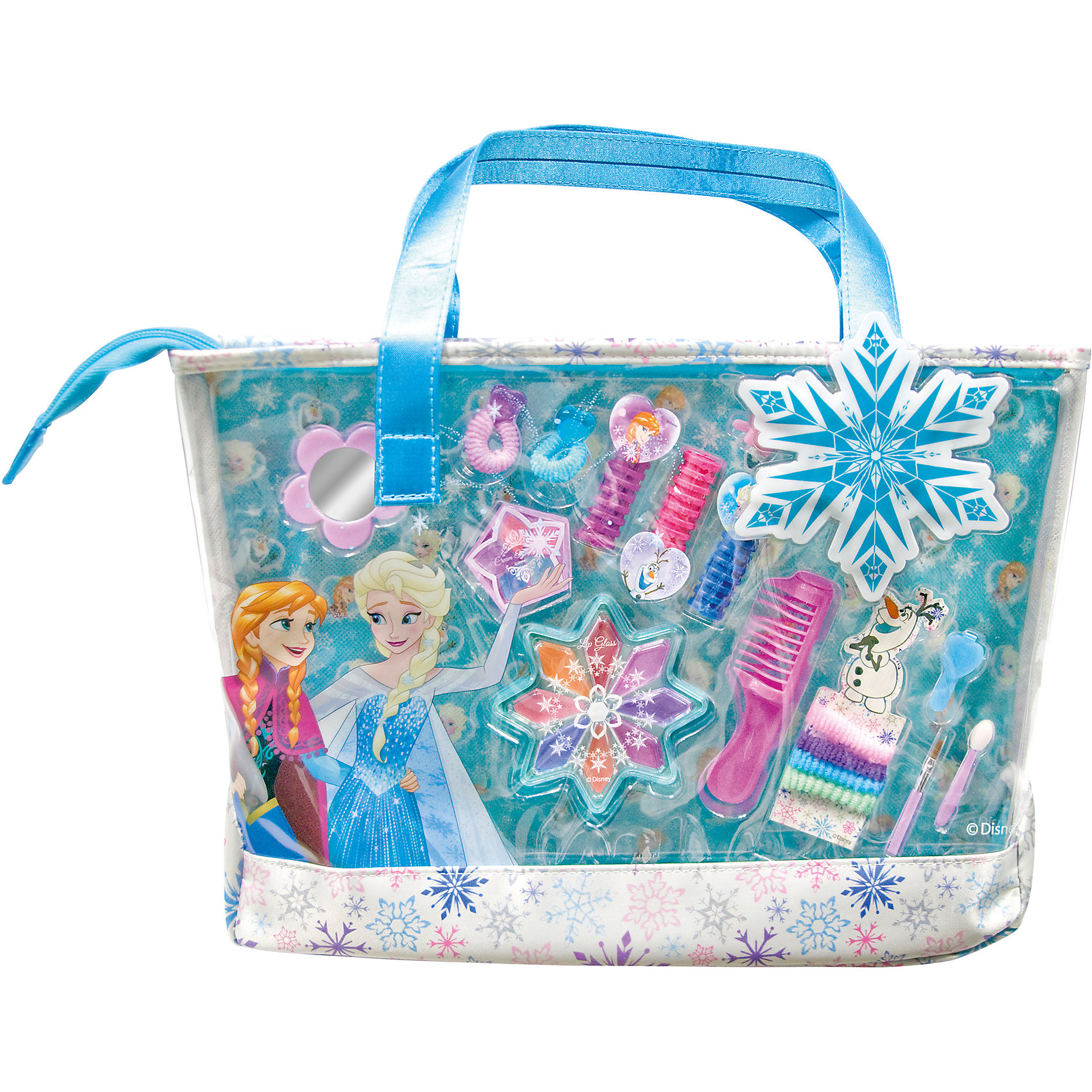 Игровой набор детской декоративной косметики в сумке, Холодное сердцеХарактеристики:<br><br>• Наименование: детская декоративная косметика<br>• Предназначение: для сюжетно-ролевых игр<br>• Серия: Холодное сердце<br>• Пол: для девочки<br>• Материал: натуральные косметические компоненты, пластик, текстиль<br>• Цвет: розовый, сиреневый, оранжевый, красный, голубой и др.<br>• Комплектация: 3 мелка для окрашивания волос, 8 оттенков блеска для губ, 5 оттенков кремовых теней для век, зеркальце, 6 резинок для волос, 2 заколочки для волос, расчёска, кисть для нанесения блеска для губ, аппликатор для нанесения теней для век, сумочка<br>• Размеры (Д*Ш*В): 35*25,5*8,5 см<br>• Вес: 300 г <br>• Упаковка: сумочка с ручками<br><br>Игровой набор детской декоративной косметики в сумке, Холодное сердце – это набор игровой детской косметики от Markwins, которая вот уже несколько десятилетий специализируется на выпуске детской косметики. Рецептура декоративной детской косметики разработана совместно с косметологами и медиками, в основе рецептуры – водная основа, а потому она гипоаллергенны, не вызывает раздражений на детской коже и легко смывается, не оставляя следа. Безопасность продукции подтверждена международными сертификатами качества и безопасности. <br>Игровой набор детской декоративной косметики состоит всех необходимых средств для создания праздничного образа, для этого имеются тени, блеск, мелки для окрашивания волос. Для создания праздничной прически в комплекте предусмотрены заколки и резиночки для волос. Весь набор упакован в стильную сумочку. Косметические средства, входящие в состав набора, имеют длительный срок хранения – 12 месяцев. Набор выполнен в брендовом дизайне популярной мультфильма Холодное сердце. Игровой набор детской декоративной косметики от Markwins может стать незаменимым праздничным подарком для любой маленькой модницы!<br><br>Игровой набор детской декоративной косметики в сумке, Холодное сердце можно купить в нашем интернет-магазине.<br><br>Ширина мм: 85