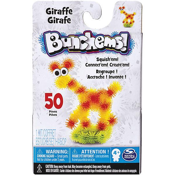 Набор Жираф, BunchemsПластмассовые конструкторы<br>Набор Жираф, Bunchems (Банчемс).<br><br>Характеристики:<br><br>- Возраст: от 4 лет<br>- Для мальчиков и девочек<br>- В наборе: 50 шариков-репейников (желтого, оранжевого и зеленого), глаза, инструкция<br>- Диаметр шарика-репейника: 2 см.<br>- Материал: мягкий качественный нетоксичный пластик, окрашенный в яркие цвета гипоаллергенными красителями<br>- Размер упаковки: 11,5 x 4,5 x 18,5 см.<br>- Упаковка: картонная коробка<br><br>С помощью мягкого конструктора-липучки Bunchems (Банчемс) Жираф от торговой марки Spin Master ваш малыш сможет собрать фигурку симпатичного яркого жирафа, стоящего на пушистой травке. А дополнительный аксессуар, глаза, сделает образ животного более забавным. Конструктор работает на простом и эффективном принципе, который создатели этой серии игрушек подсмотрели у природы! Элементы конструктора - шарики - с помощью мини-крючков легко соединяются между собой и также легко разъединяются, как репейник. В результате горсти таких шариков можно придавать разнообразную форму. Для лучшего сцепления необходимо как можно плотнее прижимать детали. Получившаяся фигурка не разваливается, с ней можно играть дома, на улице, в ванной – где угодно! Элементы конструктора выполнены из мягкого безопасного пластика, в центре шариков находятся отверстия для аксессуаров. Конструктор отлично развивает фантазию и пространственное мышление ребенка. Элементы конструктора упакованы в специальную картонную коробку, цвета шариков разделены при помощи поддона с ячейками. С конструктором не рекомендуется играть детям младше 4 лет. Перед игрой у девочек волосы следует собрать в хвост или в пучок во избежание запутывания игровых элементов! После окончания игры все детали убрать в коробку для исключения травмирующих ситуаций!<br><br>Набор Жираф, Bunchems (Банчемс) можно купить в нашем интернет-магазине.<br>Ширина мм: 145; Глубина мм: 221; Высота мм: 233; Вес г: 300; Возраст от месяцев: 48; Возраст до месяцев: 144; Пол: Унисекс;