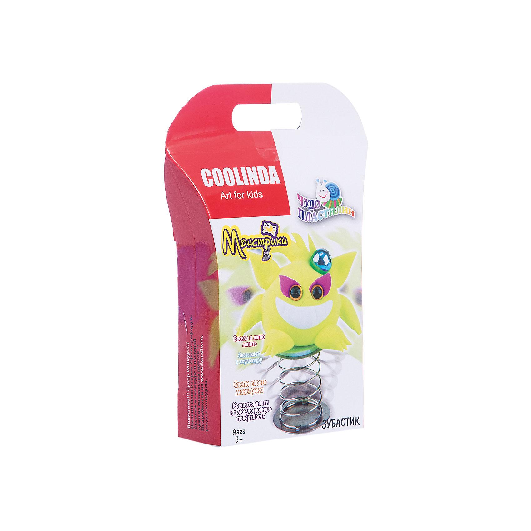 Чудо Пластилин Скульптор Монстрик ЗубастикНаборы для лепки<br>Характеристики:<br><br>• Предназначение: для лепки<br>• Материал: полимерный материал<br>• Цвет: неоновый желтый<br>• Комплектация: масса для лепки, инструменты для лепки, пружинка, пластиковые глазки, инструкция<br>• Упаковка: картонная подложка<br>• Размеры упаковки (Д*Ш*В): 3*14,5*17,5 см<br>• Вес в упаковке: 28 г<br><br>Пластилин выполнен из инновационного материала, который абсолютно безопасен, не имеет запаха и не вызывает раздражений на коже. Он легко разминается, не рассыпается на песчинки, не крошится и не оставляет жирных следов на руках. При этом хорошо держит форму, благодаря способности застывать через определенное время. Из пластилина можно слепить монстрика по инструкции или создать свою фигурку.<br><br>Чудо Пластилин Скульптор Монстрик Зубастик можно купить в нашем интернет-магазине.<br><br>Ширина мм: 30<br>Глубина мм: 145<br>Высота мм: 175<br>Вес г: 28<br>Возраст от месяцев: 36<br>Возраст до месяцев: 84<br>Пол: Унисекс<br>Возраст: Детский<br>SKU: 5124760