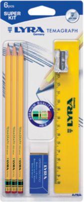LYRA Чернографитные карандаши с ластиком 3 шт (с металлической точилкой, ластиком и линейкой)