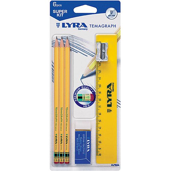 Чернографитные карандаши с ластиком 3 шт (с металлической точилкой, ластиком и линейкой)Чернографитные<br>Характеристики товара:<br><br>• в комплекте: 3 чернографитных карандаша, ластик, точилка, линейка;<br>• твердость карандаша: HB;<br>• шкала линейки: от 0 до 16 см;<br>• диаметр карандаша: 7 мм;<br>• диаметр грифеля: 1,5 мм;<br>• материал: дерево, металл, пластик;<br>• размер упаковки: 21х9х1 см;<br>• возраст: от 3 лет.<br><br>Lyra Temagraph - набор, состоящий из трех чернографитных карандашей, ластика, линейки и металлической точилки. Карандаш легко затачивается и оставляет ровные штрихи. Ластик имеет удобную форму и быстро стирает написанное карандашом. Металлическая точилка отличается высокой прочностью. Набор отлично подойдет для школы и домашних занятий.<br><br>Lyra (Лира) Temagraph Чернографитные карандаши с ластиком 3 шт в блист. c точилкой, ластиком и линейкой можно купить в нашем интернет-магазине.<br><br>Ширина мм: 100<br>Глубина мм: 190<br>Высота мм: 190<br>Вес г: 100<br>Возраст от месяцев: 36<br>Возраст до месяцев: 84<br>Пол: Унисекс<br>Возраст: Детский<br>SKU: 5124960