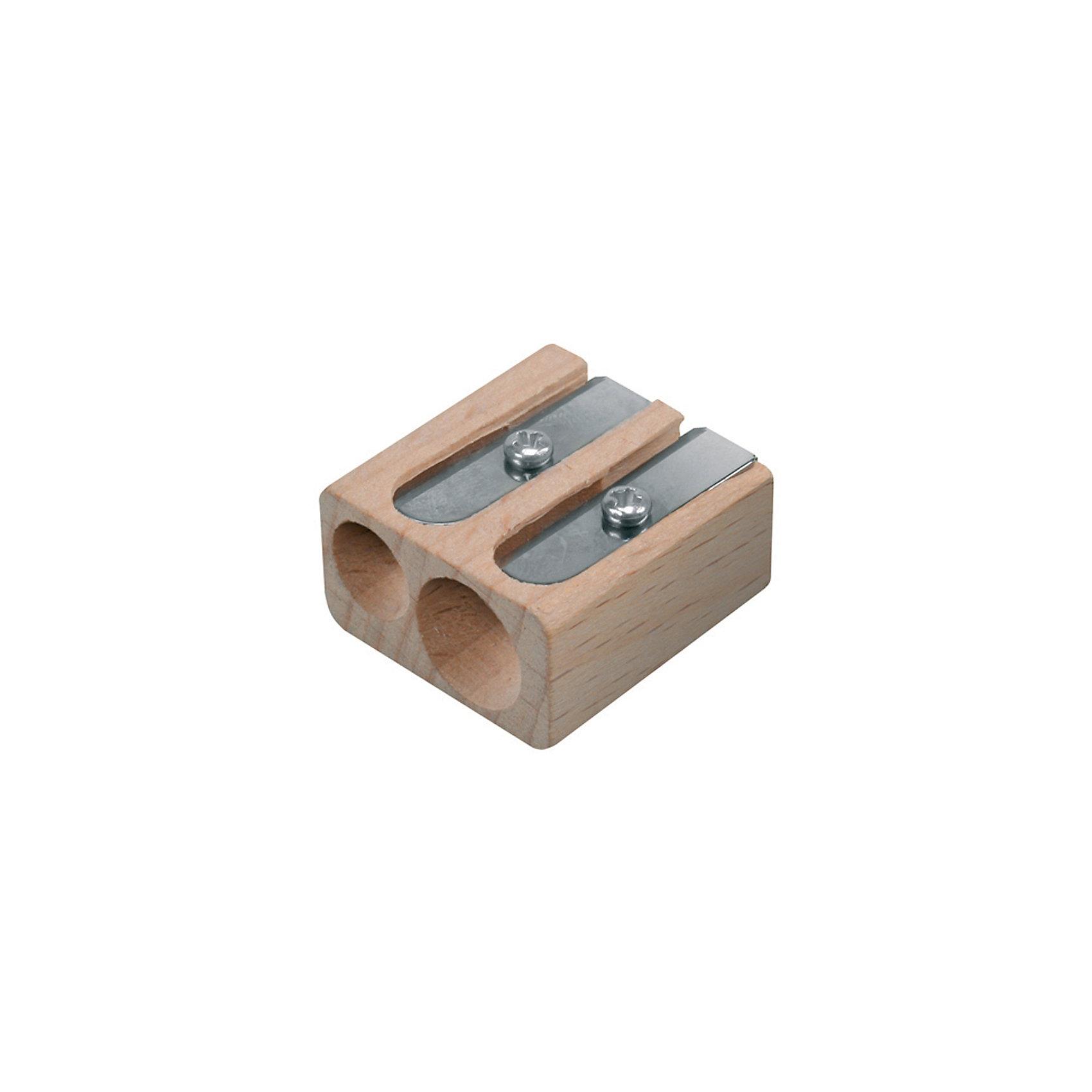 Деревянная точилка с двумя отверстиямиДеревянная точилка с двумя отверстиями<br><br>Характеристики:<br><br>- в набор входит: 1 точилка<br>- состав: дерево, металл <br>- для детей в возрасте: от 4 лет<br>- Страна производитель: Китай<br><br>Классическая деревянная точилка с двумя отверстиями станет незаменимым помощником в пенале ребенка. Карандаши со стандартным диаметром затачиваются остро, а большие цветные карандаши с более мягким грифелем затачиваются более бережно. Легкий деревянный корпус не будет утяжелять пенал. Надежные лезвия остаются острыми долгое время и отлично затачивают даже карандаши в пластиковом корпусе. <br><br>Деревянная точилку с двумя отверстиями можно купить в нашем интернет-магазине.<br><br>Ширина мм: 30<br>Глубина мм: 20<br>Высота мм: 40<br>Вес г: 25<br>Возраст от месяцев: 36<br>Возраст до месяцев: 84<br>Пол: Унисекс<br>Возраст: Детский<br>SKU: 5124962