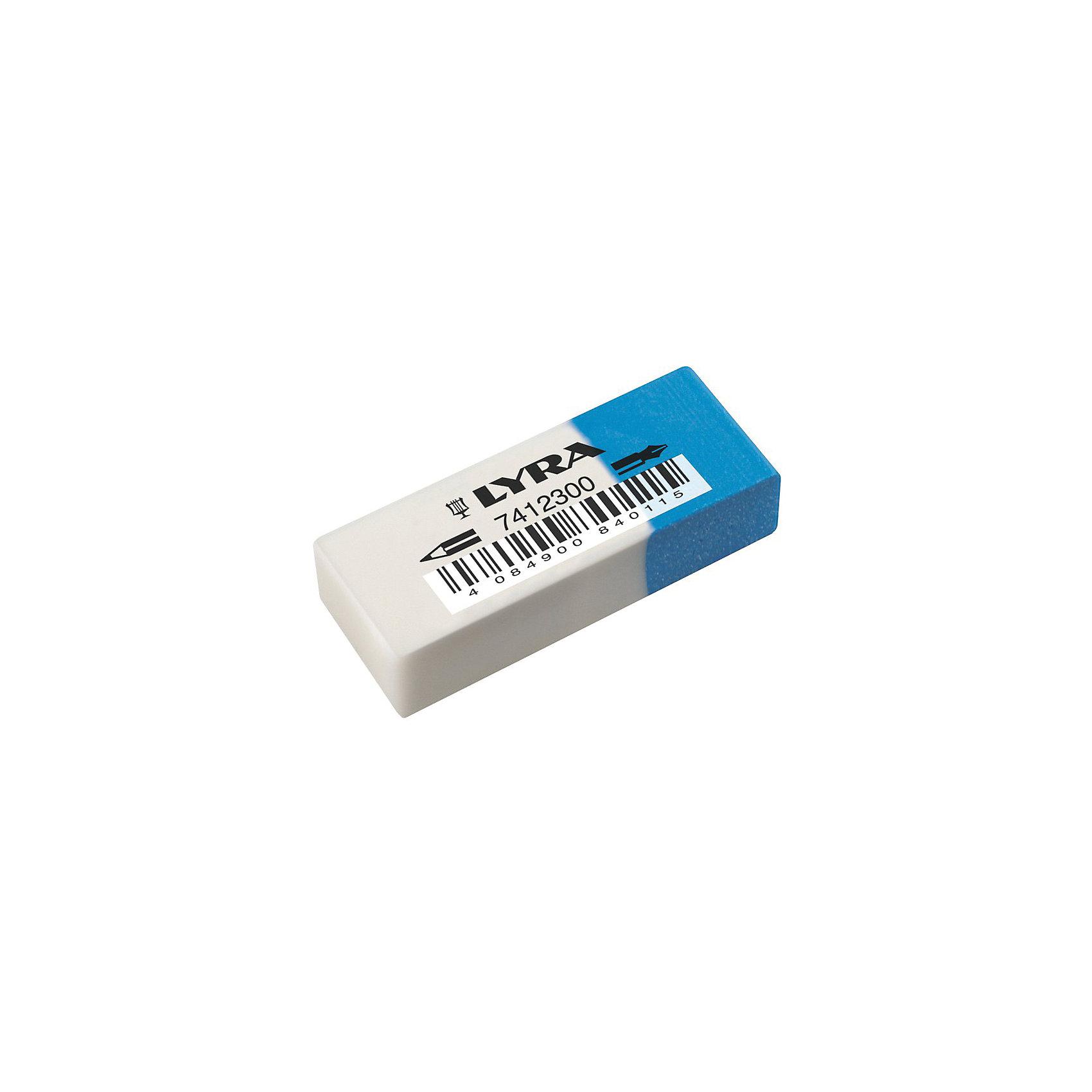 Ластик для карандашей и чернил двустороннийLYRA Ластик для карандашей и чернил двусторонний сине-белый 50*19*12 мм в картонной муфте. В коробках по 30  шт. Отгружается кратно коробке. Цена за 1 шт.<br><br>Ширина мм: 26<br>Глубина мм: 101<br>Высота мм: 154<br>Вес г: 19<br>Возраст от месяцев: 36<br>Возраст до месяцев: 84<br>Пол: Унисекс<br>Возраст: Детский<br>SKU: 5124965