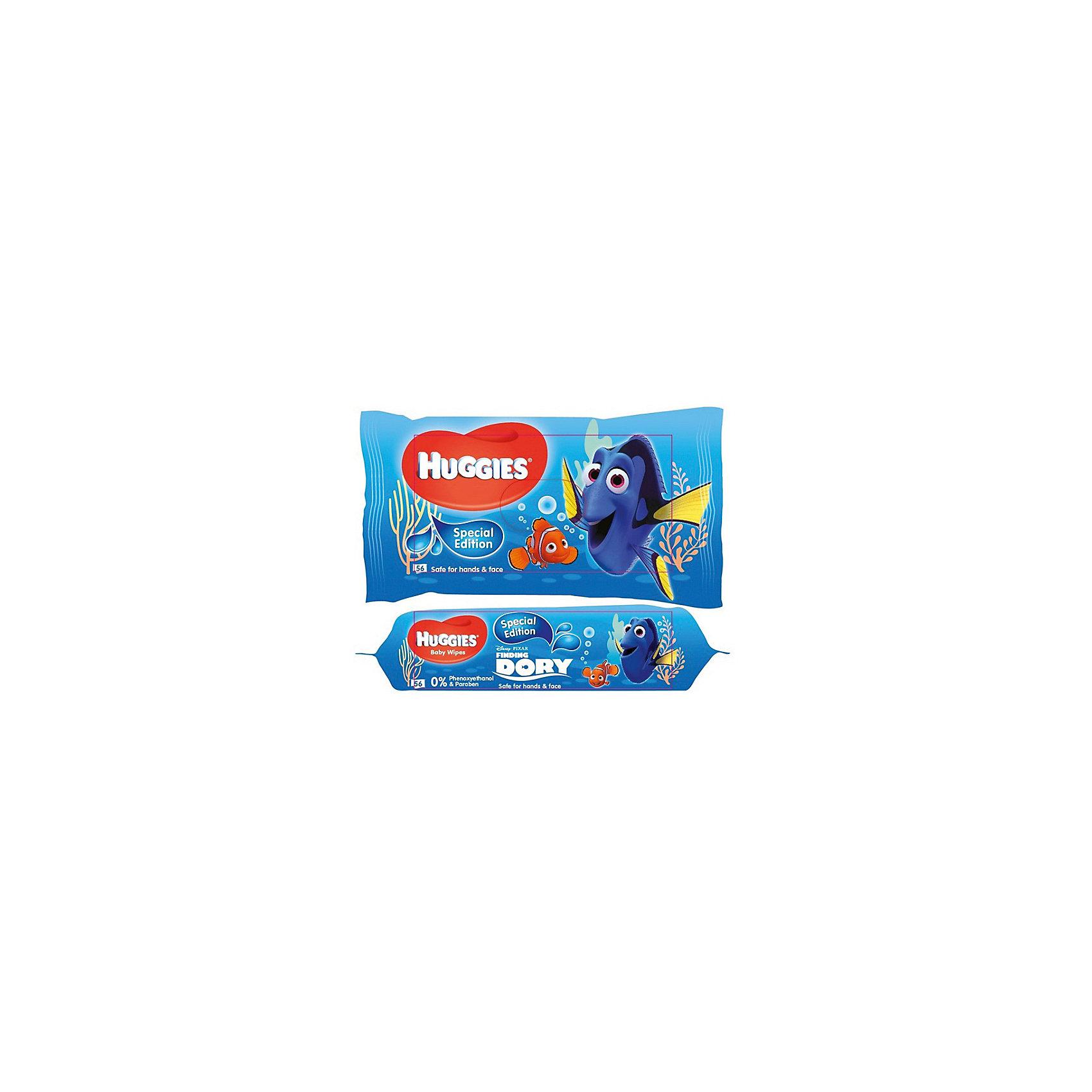Детские влажные салфетки Huggies Рыбка Дори, 56шт.Влажные салфетки<br>Детские влажные салфетки Рыбка Дори (56 шт.), Huggies<br><br>Характеристики:<br><br>-В упаковке: 56 штук<br>-Безопасный материал для кожи ребёнка<br>-Содержит алое и витамин Е<br>-Без спирта и парабенов<br><br>Гигиена для ребенка - это залог его здоровья. Детские влажные салфетки Рыбка Дори (56 шт.), Huggies помогут позаботиться о чистоте вашего ребёнка. Салфетки абсолютно безопасны для ребёнка. Многослойная текстура обеспечит нежный уход и позволит убрать грязь без всяких затруднений. А яркая упаковка с главными героями мультфильма Дори поможет быстр приучить ребёнка к гигиене.<br><br>Детские влажные салфетки Рыбка Дори (56шт.), Huggies можно приобрести в нашем интернет-магазине.<br><br>Ширина мм: 150<br>Глубина мм: 100<br>Высота мм: 150<br>Вес г: 500<br>Возраст от месяцев: 0<br>Возраст до месяцев: 36<br>Пол: Унисекс<br>Возраст: Детский<br>SKU: 5126872