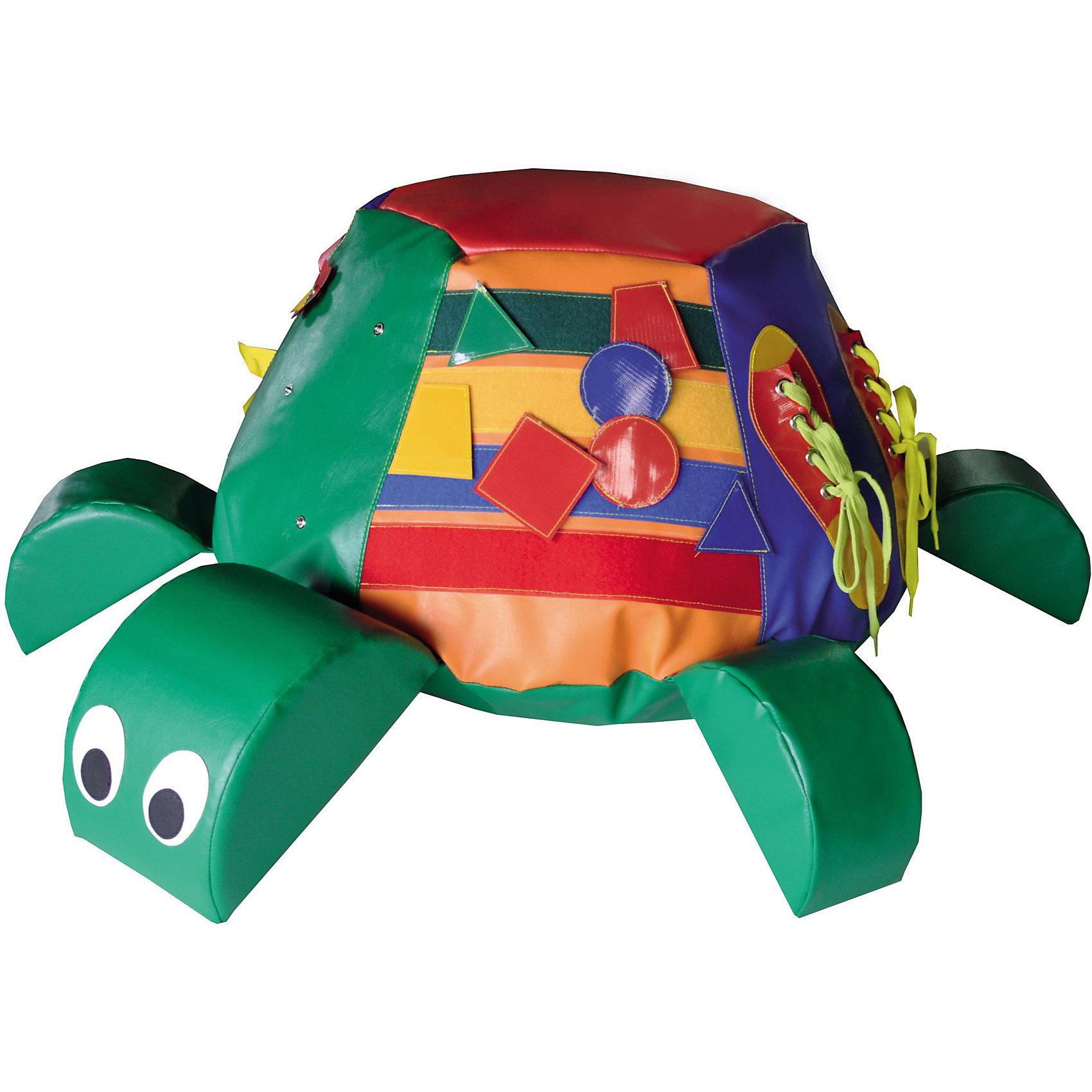 Развивающая игрушка Черепаха, ROMANAРазвивающие игрушки<br>Развивающая игрушка Черепаха, ROMANA<br><br>Характеристики:<br><br>• Материал внешнего слоя: кожзаменитель<br>• Наполнитель: поролон<br>• Размер комплекса: 70х70х20 см<br>• Цвет: зеленый<br>• Возраст: от 18 месяцев до 3 лет<br><br>Развивающая игрушка «Черепаха» - это непросто игрушка для ребенка, это целый игровой комплекс. Центр комплекса (спинка черепахи) – это мягкий пуфик, который выдерживает нагрузку до 50кг. Комплекс очень крепкий, устойчивый к царапинам, деформации. Легко моется и не выцветает со временем. Яркие цвета черепашки и ее деталей привлекают малыша. Такая игрушка развивает моторику, вестибулярный аппарат, выносливость, ловкость и многое другое. Каждая сторона панциря – это отдельный тренажер, который помогает ребенку изучить что-то новое.<br><br>Развивающая игрушка Черепаха, ROMANA можно купить в нашем интернет-магазине.<br><br>Ширина мм: 700<br>Глубина мм: 700<br>Высота мм: 350<br>Вес г: 1500<br>Возраст от месяцев: 216<br>Возраст до месяцев: 36<br>Пол: Унисекс<br>Возраст: Детский<br>SKU: 5129361
