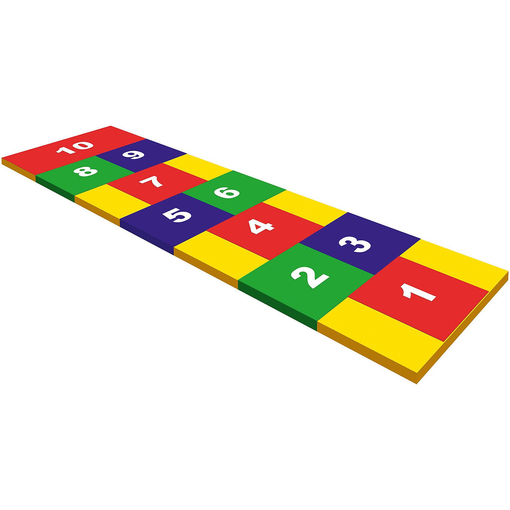 Спортивно-игровой коврик Классики, ROMANAИгровые наборы<br>Спортивно-игровой коврик Классики, ROMANA  - это цветная дорожка с изображением цифр для игры в классики. Кроме того, коврик поможет  запомнить цифры, изучить цвета и развить координацию. <br><br>Коврик предназначен для выполнения спортивных упражнений и игровых занятий. Может использоваться отдельно или в составе детских игровых комплексов в домашних условиях. Изготовитель гарантирует соответствие изделия требованиям ГОСТ 25779-90. <br><br>Дополнительная информация:<br>- Размеры: длина (см) 210, ширина (см) 60<br>- Материал: поролон, винилискожа<br><br>Спортивно-игровой коврик Классики, ROMANA можно купить в нашем интернет-магазине.<br><br>Ширина мм: 2100<br>Глубина мм: 600<br>Высота мм: 30<br>Вес г: 1500<br>Возраст от месяцев: 36<br>Возраст до месяцев: 96<br>Пол: Унисекс<br>Возраст: Детский<br>SKU: 5129364