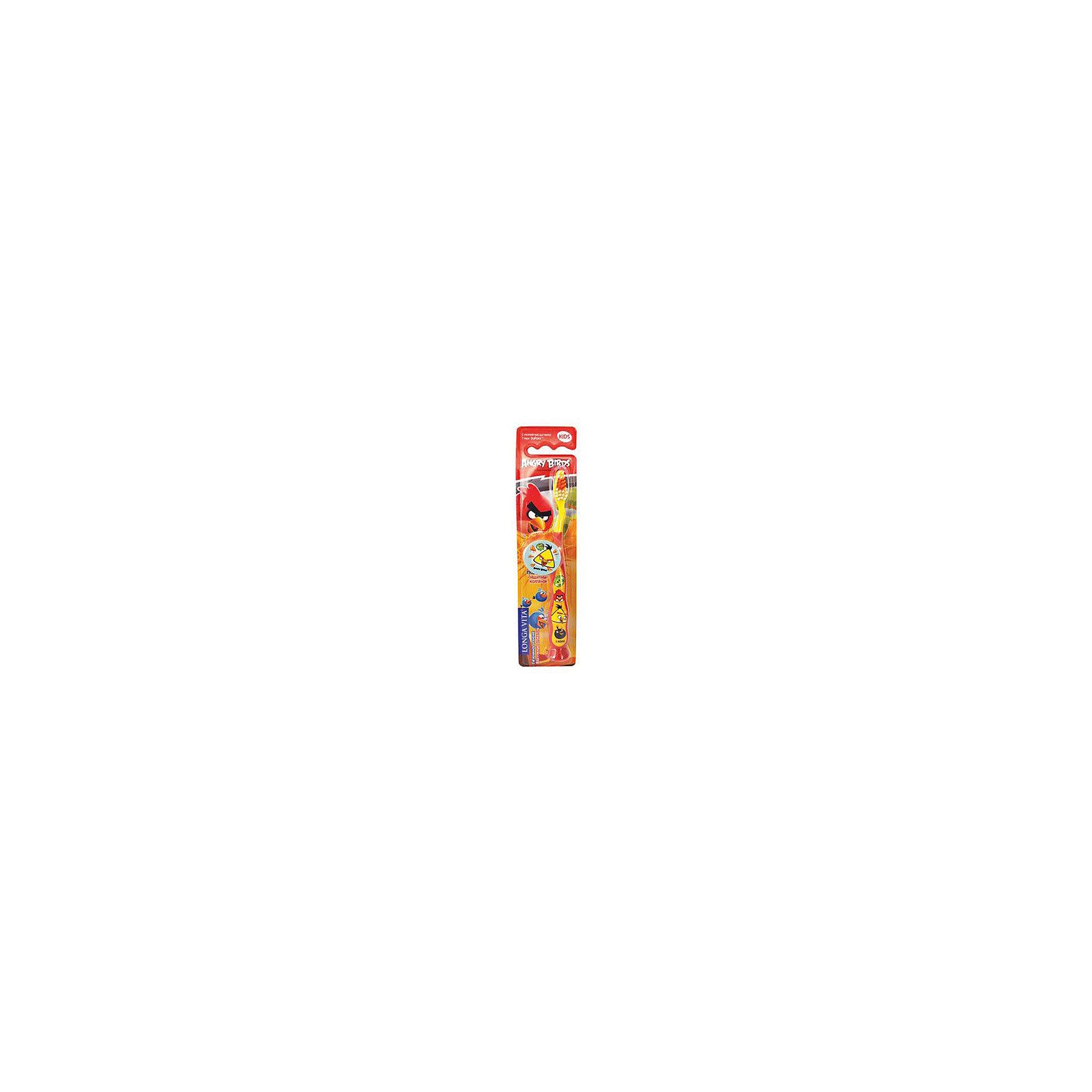 Детская зубная щетка с защитным колпачком, Angry Birds, LONGA VITA, красныйДетская зубная щетка с защитным колпачком, Angry Birds, LONGA VITA (Лонга Вита), красная.  <br><br>Характеристика:<br><br>• Материал: пластик, нейлон.<br>• Размер упаковки: 23х6х2 см. <br>• Жесткость щетины: мягкая. <br>• Удобная подставка-присоска.<br>• Эргономичная ручка<br>• Защитный колпачок в комплекте. <br>• Яркий привлекательный дизайн. <br><br>Яркая зубная щетка с веселыми Angry Birds (Энгри Бердс) приведет в восторг любого ребенка! Щетка прекрасно удаляет зубной налет, очень маневренная, оснащена удобной подставкой-присоской. Благодаря мягкой щетине, не травмирует нежные детские десны. Защитный колпачок убережет щетку от загрязнения и распространения бактерий, удобная эргономичная ручка препятствует выскальзыванию. Привлекательный дизайн и изображения любимых героев сделают процесс чистки зубов увлекательным и веселым! <br><br>Детскую зубную щетку с защитным колпачком, Angry Birds, LONGA VITA (Лонга Вита), красную, можно купить в нашем магазине.<br><br>Ширина мм: 20<br>Глубина мм: 25<br>Высота мм: 160<br>Вес г: 40<br>Возраст от месяцев: 36<br>Возраст до месяцев: 72<br>Пол: Унисекс<br>Возраст: Детский<br>SKU: 5130699
