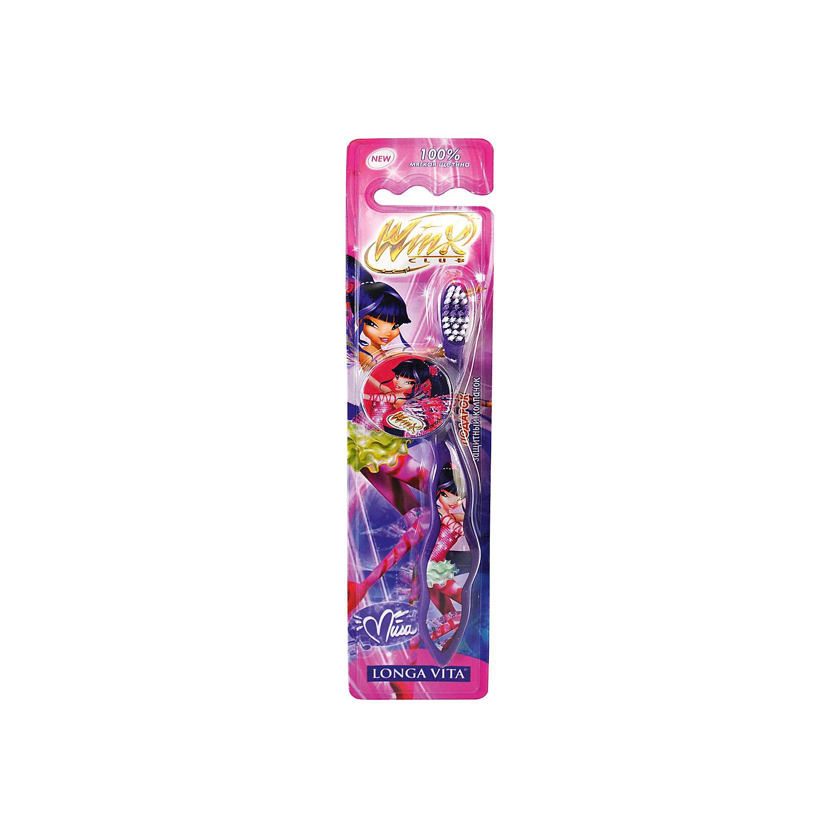 Детская зубная щетка Winx с защитным колпачком , арт. WX-1 , LONGA VITA, фиолетовыйДетская зубная щетка Winx с защитным колпачком, арт. WX-1 , LONGA VITA (Лонга Вита), фиолетовая.  <br><br>Характеристика:<br><br><br>• Материал: пластик, нейлон.<br>• Размер упаковки: 23х6х2 см. <br>• Жесткость щетины: мягкая. <br>• Эргономичная ручка<br>• Защитный колпачок в комплекте. <br>• Яркий привлекательный дизайн. <br><br>Яркая зубная щетка с очаровательными Winx (Винск) приведет в восторг вашу маленькую фею! Щетка LONGA VITA очень маневренная, прекрасно очищает ротовую полость и удаляет зубной налет. Благодаря мягкой щетине, она не травмирует нежные детские десны. Защитный колпачок убережет щетку от загрязнения и распространения бактерий, удобная эргономичная ручка препятствует выскальзыванию. Привлекательный дизайн и изображения любимых героинь сделают процесс чистки зубов увлекательным и веселым!<br><br>Детскую зубную щетку Winx с защитным колпачком, арт. WX-1 , LONGA VITA (Лонга Вита), фиолетовую, можно купить в нашем магазине.<br><br>Ширина мм: 20<br>Глубина мм: 25<br>Высота мм: 160<br>Вес г: 40<br>Возраст от месяцев: 36<br>Возраст до месяцев: 72<br>Пол: Женский<br>Возраст: Детский<br>SKU: 5130704