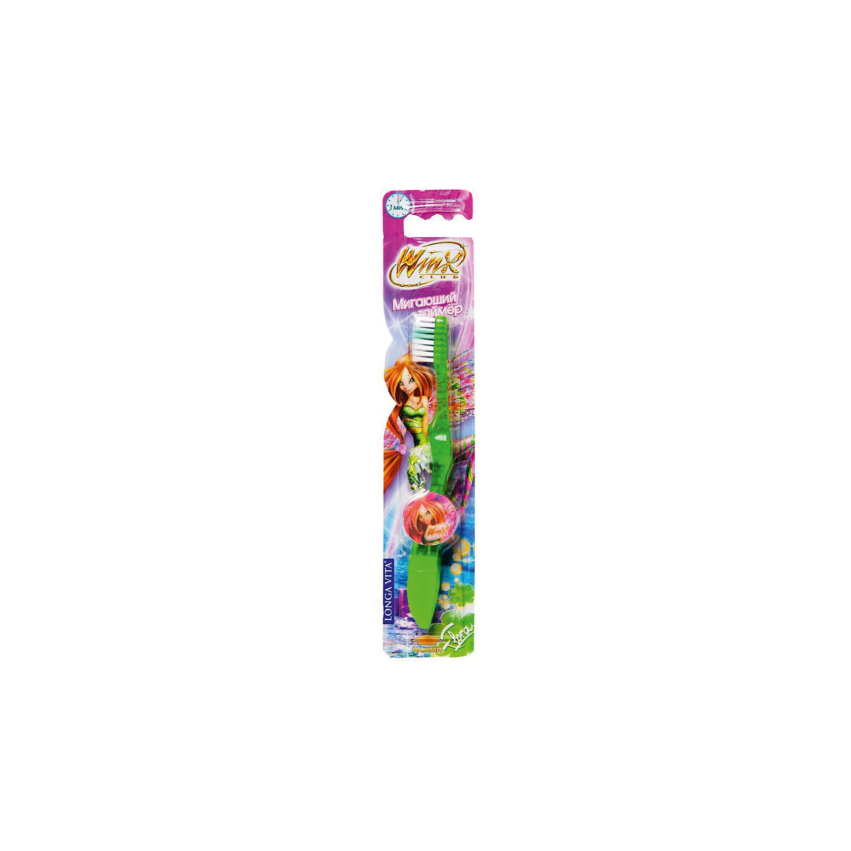 Зубная щетка с мигающим таймером, от 3-х лет, Winx, LONGA VITA, зеленыйЗубная щетка с мигающим таймером, от 3-х лет, Winx, LONGA VITA (Лонга Вита), зеленая.    <br><br>Характеристика:<br><br>• Материал: пластик, нейлон.<br>• Размер упаковки: 23х5х2 см. <br>• Жесткость: мягкая щетина Tynex DuPont. <br>• Эргономичная ручка с выступом для большого пальца. <br>• Мигающий таймер на 60 секунд (минимальное время чистки зубов, рекомендованное стоматологами). <br>• Яркий привлекательный дизайн. <br>• Батарейки в комплекте. <br><br>Яркая зубная щетка с очаровательными Winx (Винкс) приведет в восторг любую девочку! Нажимай на кнопку, смотри, как мигают веселые огоньки и ухаживай за зубами! Щетка LONGA VITA очень маневренная, прекрасно очищает ротовую полость и удаляет зубной налет. Благодаря мягкой щетине, не травмирует нежные детские десны. Удобная эргономичная ручка препятствует выскальзыванию. Привлекательный дизайн, изображения любимых героинь и веселые огоньки сделают процесс чистки зубов увлекательным и веселым! <br><br>Зубную щетку с мигающим таймером, от 3-х лет, Winx, LONGA VITA (Лонга Вита), зеленую, можно купить в нашем магазине.<br><br>Ширина мм: 20<br>Глубина мм: 25<br>Высота мм: 160<br>Вес г: 40<br>Возраст от месяцев: 36<br>Возраст до месяцев: 84<br>Пол: Женский<br>Возраст: Детский<br>SKU: 5130708