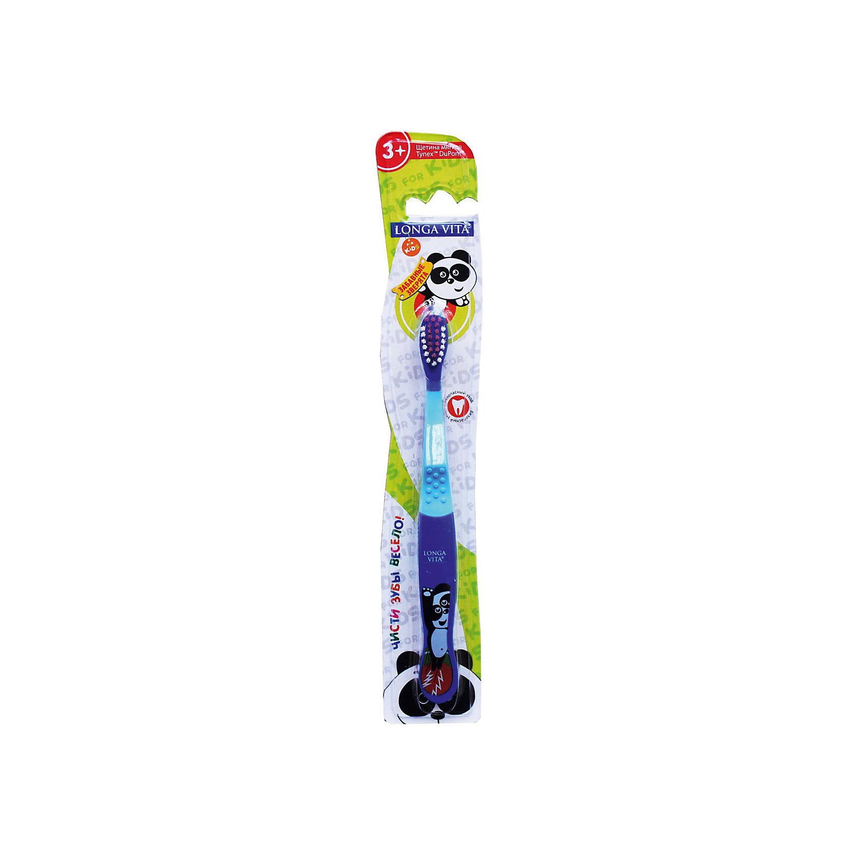 Детская зубная щетка Забавные зверята, от 3-х лет, арт. S-138, LONGA VITA, синийДетская зубная щетка Забавные зверята, от 3-х лет, арт. S-138, LONGA VITA (Лонга Вита), синяя.  <br><br>Характеристика:<br><br>• Материал: пластик, нейлон.<br>• Размер упаковки: 24х4х2 см. <br>• Длина щетки: 16 см. <br>• Жесткость щетины: мягкая. <br>• Эргономичная ручка<br>• Яркий привлекательный дизайн. <br><br>Яркая зубная щетка с очаровательными зверятами приведет в восторг любого ребенка! Щетка LONGA VITA очень маневренная, прекрасно очищает ротовую полость и удаляет зубной налет. Благодаря мягкой щетине, она не травмирует нежные детские десны. Удобная эргономичная ручка препятствует выскальзыванию. Привлекательный дизайн и изображения забавных зверят сделают процесс чистки зубов увлекательным и веселым!<br><br>Детскую зубную щетку Забавные зверята, от 3-х лет, арт. S-138, LONGA VITA (Лонга Вита) синюю, можно купить в нашем магазине.<br><br>Ширина мм: 20<br>Глубина мм: 25<br>Высота мм: 160<br>Вес г: 40<br>Возраст от месяцев: 36<br>Возраст до месяцев: 84<br>Пол: Унисекс<br>Возраст: Детский<br>SKU: 5130711
