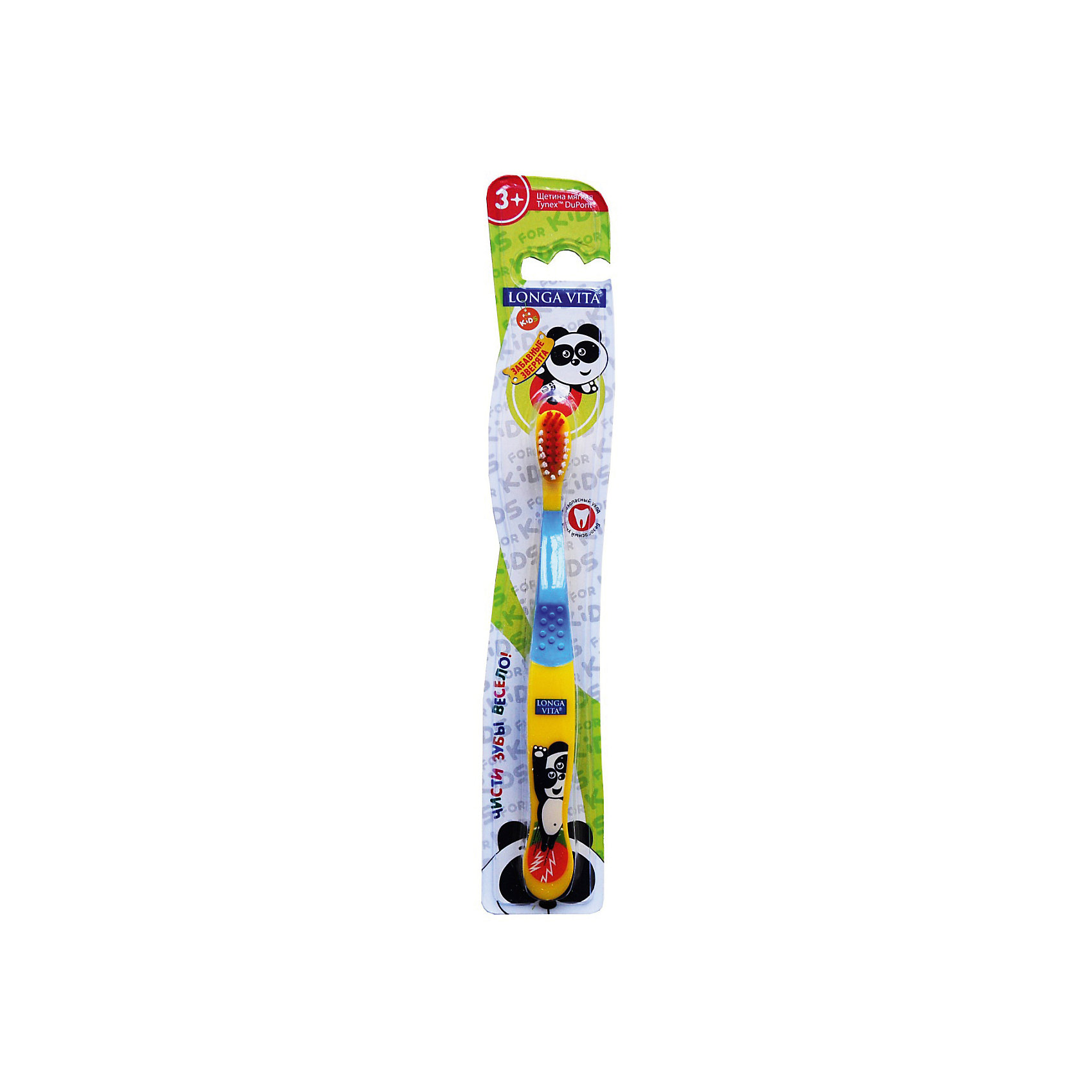 Детская зубная щетка Забавные зверята, от 3-х лет, арт. S-138, LONGA VITA, желтый