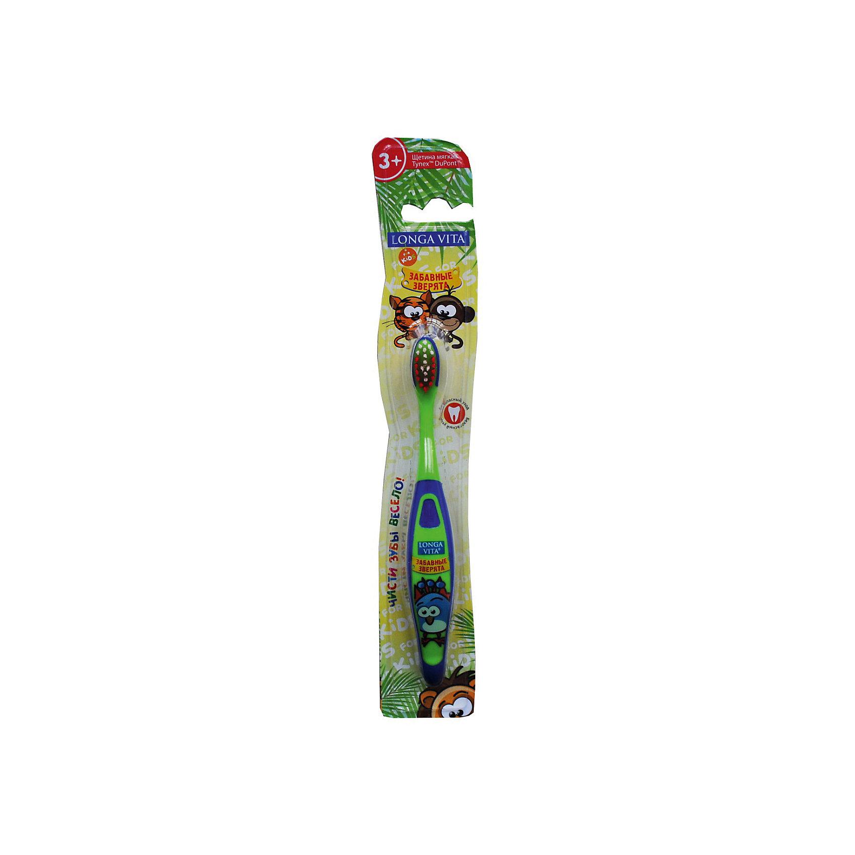 Детская зубная щетка Забавные зверята, от 3-х лет, арт. S-151, LONGA VITA, зеленыйДетская зубная щетка Забавные зверята, от 3-х лет, арт. S-151, LONGA VITA (Лонга Вита), зеленая.   <br><br>Характеристика:<br><br>• Материал: пластик, нейлон.<br>• Размер упаковки: 24х4х2 см. <br>• Длина щетки: 15 см. <br>• Жесткость щетины: мягкая. <br>• Эргономичная ручка.<br>• Яркий привлекательный дизайн. <br><br>Яркая зубная щетка с очаровательными зверятами приведет в восторг любого ребенка! Щетка LONGA VITA очень маневренная, прекрасно очищает ротовую полость и удаляет зубной налет. Благодаря мягкой щетине, она не травмирует нежные детские десны. Удобная эргономичная ручка препятствует выскальзыванию. Привлекательный дизайн и изображения забавных зверят сделают процесс чистки зубов увлекательным и веселым!<br><br>Детскую зубную щетку Забавные зверята, от 3-х лет, арт. S-151, LONGA VITA (Лонга Вита) зеленую, можно купить в нашем магазине.<br><br>Ширина мм: 20<br>Глубина мм: 25<br>Высота мм: 160<br>Вес г: 40<br>Возраст от месяцев: 36<br>Возраст до месяцев: 84<br>Пол: Унисекс<br>Возраст: Детский<br>SKU: 5130713