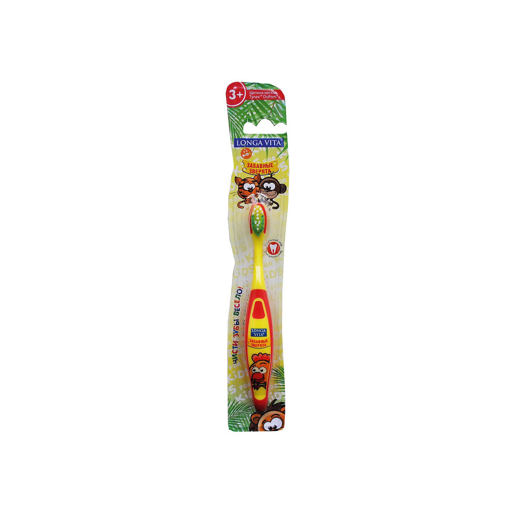 Детская зубная щетка Забавные зверята, от 3-х лет, арт. S-151, LONGA VITA, желтыйДетская зубная щетка Забавные зверята, от 3-х лет, арт. S-151, LONGA VITA (Лонга Вита), желтая.    <br><br>Характеристика:<br><br>• Материал: пластик, нейлон. <br>• Размер упаковки: 24х4х2 см. <br>• Длина щетки: 15 см. <br>• Жесткость щетины: мягкая. <br>• Эргономичная ручка.<br>• Яркий привлекательный дизайн. <br><br>Яркая зубная щетка с очаровательными зверятами приведет в восторг любого ребенка! Щетка LONGA VITA очень маневренная, прекрасно очищает ротовую полость и удаляет зубной налет. Благодаря мягкой щетине, она не травмирует нежные детские десны. Удобная эргономичная ручка препятствует выскальзыванию. Привлекательный дизайн и изображения забавных зверят сделают процесс чистки зубов увлекательным и веселым!<br><br>Детскую зубную щетку Забавные зверята, от 3-х лет, арт. S-151, LONGA VITA (Лонга Вита) желтую, можно купить в нашем магазине.<br><br>Ширина мм: 20<br>Глубина мм: 25<br>Высота мм: 160<br>Вес г: 40<br>Возраст от месяцев: 36<br>Возраст до месяцев: 84<br>Пол: Унисекс<br>Возраст: Детский<br>SKU: 5130715